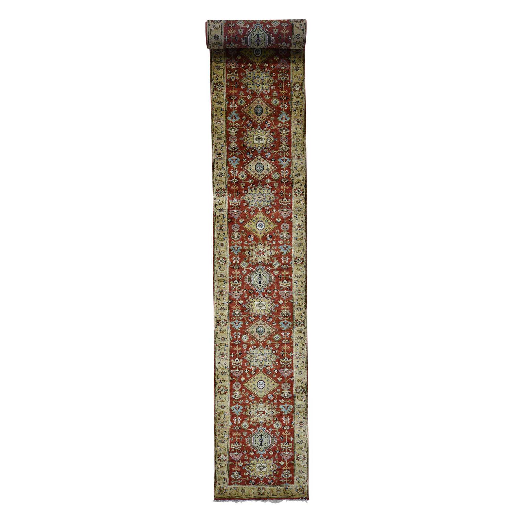"2'7""X19'10"" Hand-Knotted Xl Runner Karajeh Pure Wool Rust Red Oriental Rug moad0d00"