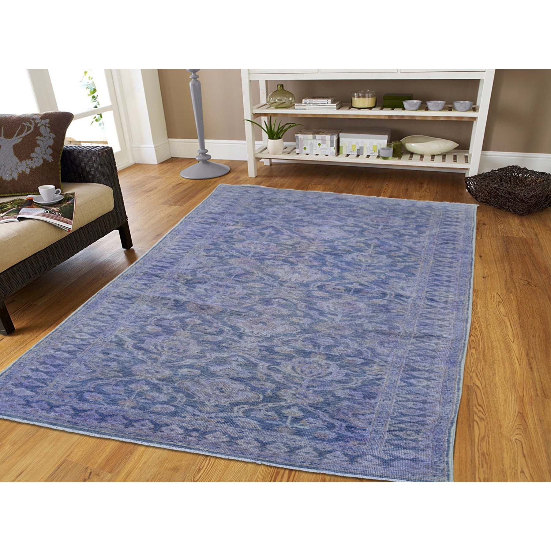 4-1 x11-10  Wide Runner Overdyed Peshawar Hand-Knotted Oriental Rug