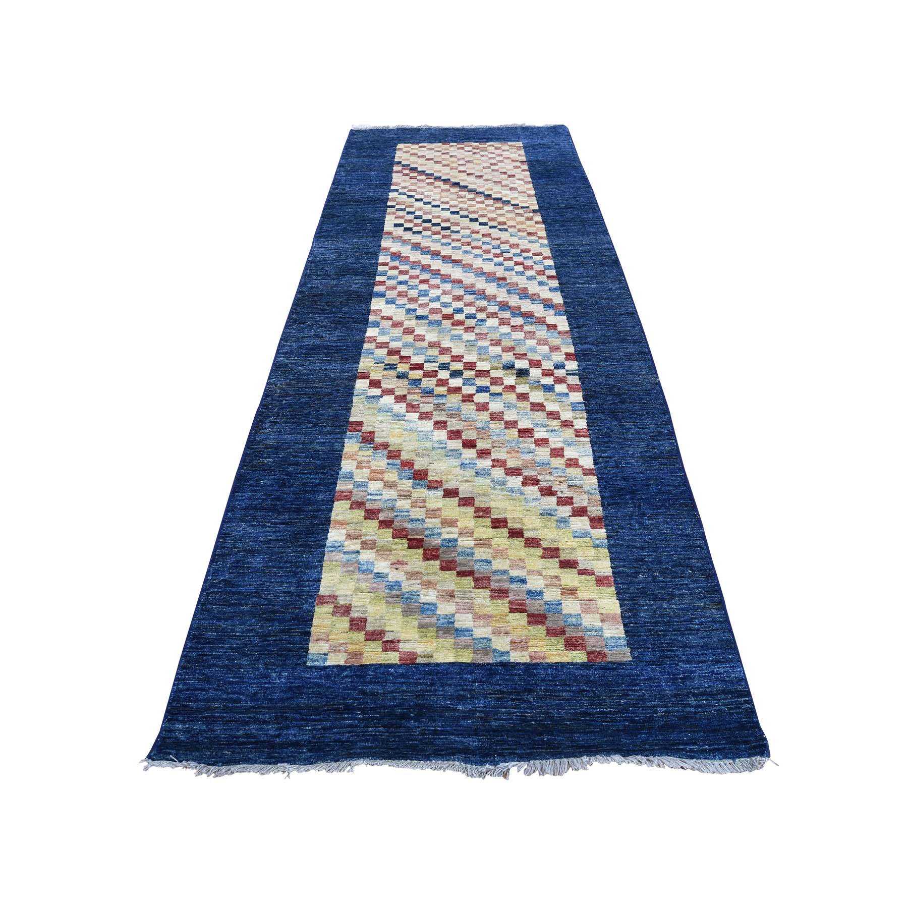 3-1 x9-5  Runner Peshawar Gabbeh Pure Wool Hand Knotted Oriental Rug