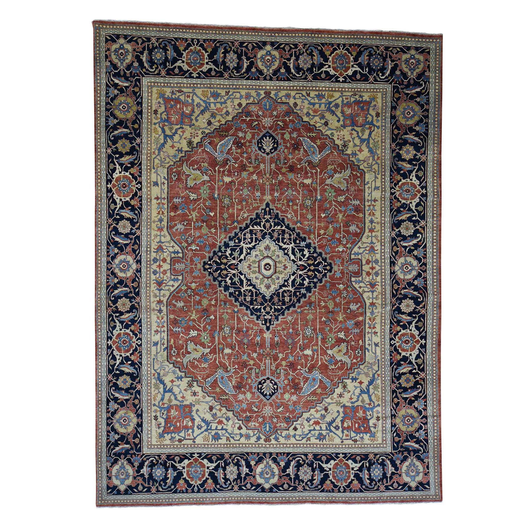 8'10 X 12' Antiqued Heriz Re-Creation Pure Wool Hand Knotted Oriental Rug moad0dde