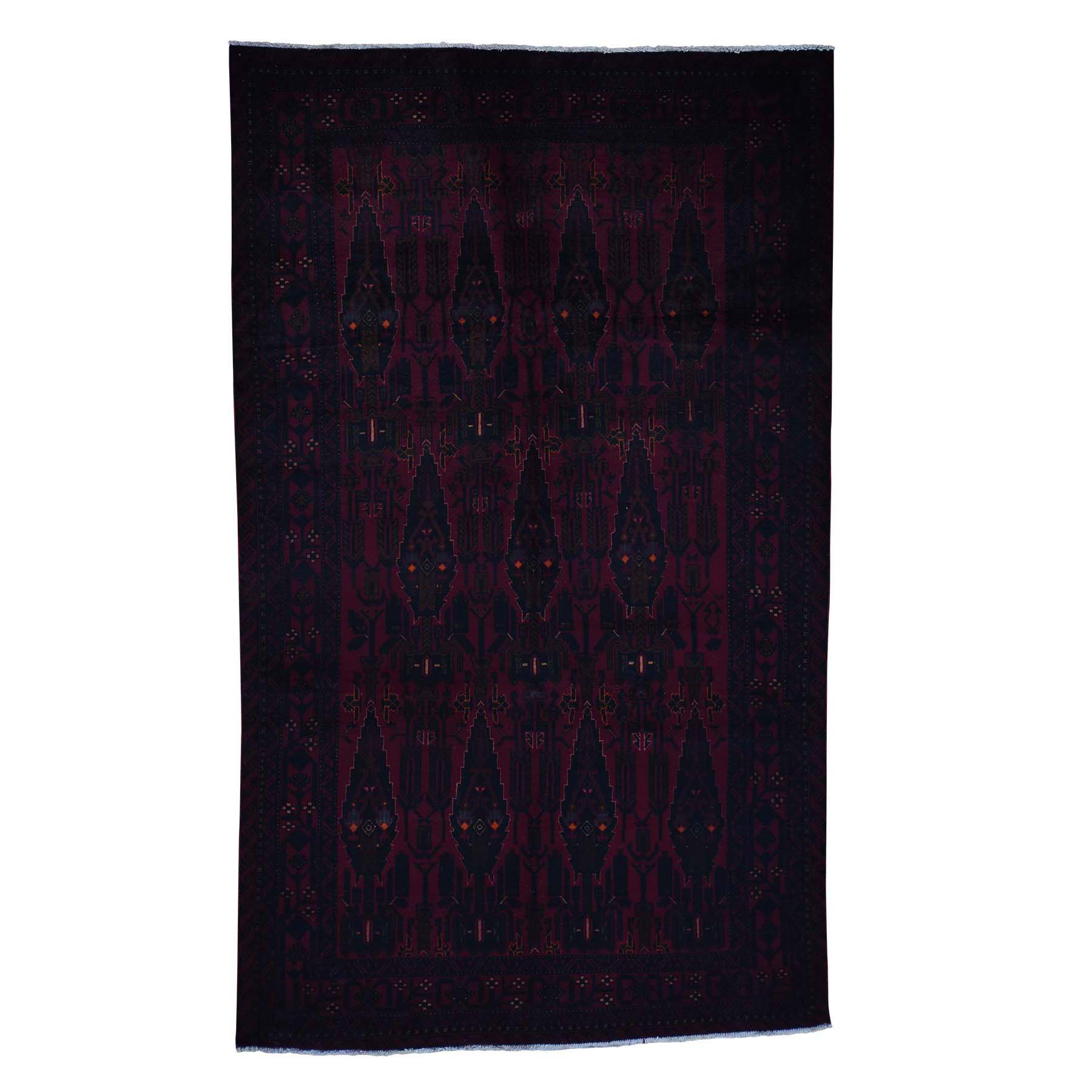 """6'2""""X10'3"""" Pure Wool Red Afghan Hand Knotted Oriental Rug moad0d69"""