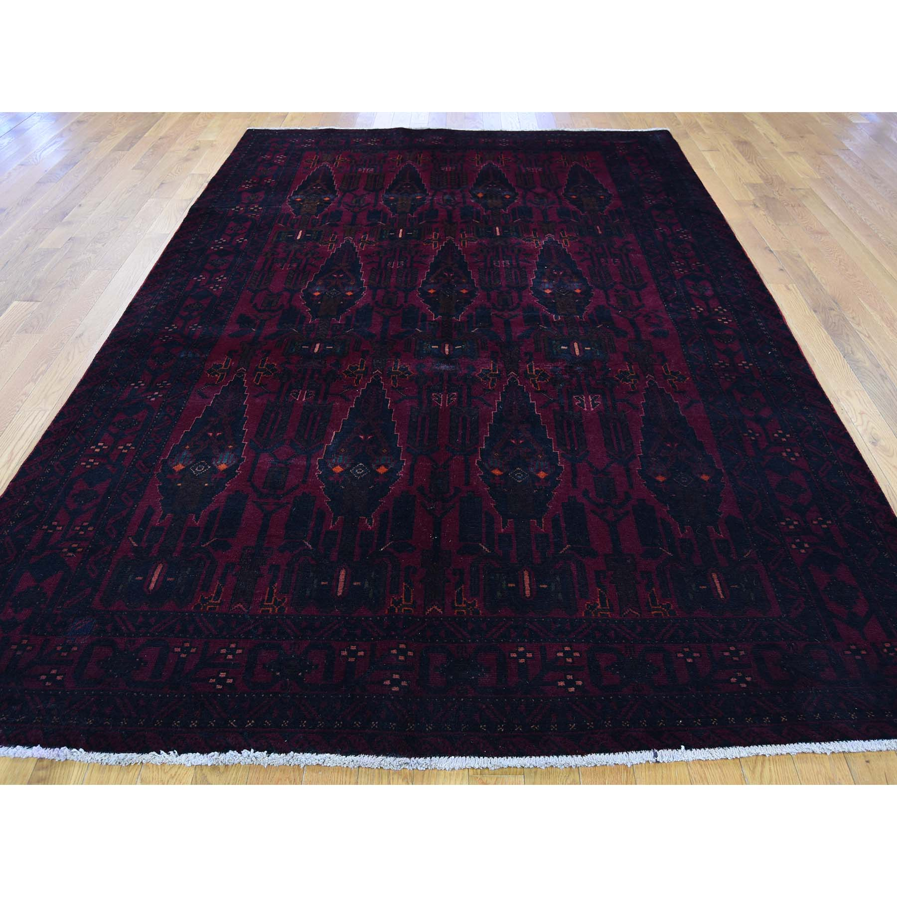 6-2 x10-3  Pure Wool Red Afghan Hand Knotted Oriental Rug