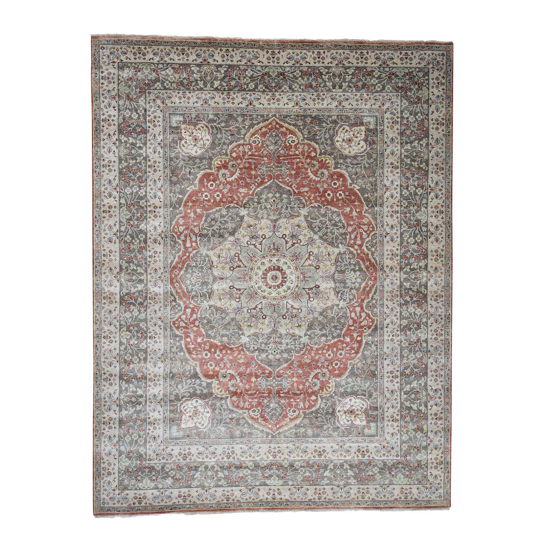 "9'2""x12' Hand-Knotted Antiqued Haji Jalili Tabriz Re-creation Pure Wool Rug"