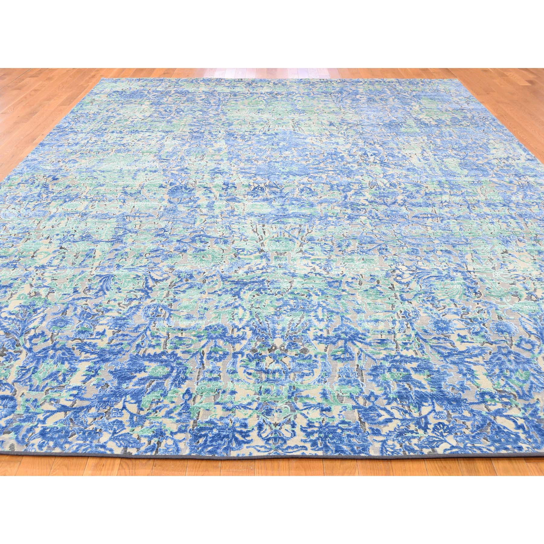 9-x12-6  THE WATER LILIES Silk With Oxidized Wool Hand-Knotted Oriental Rug