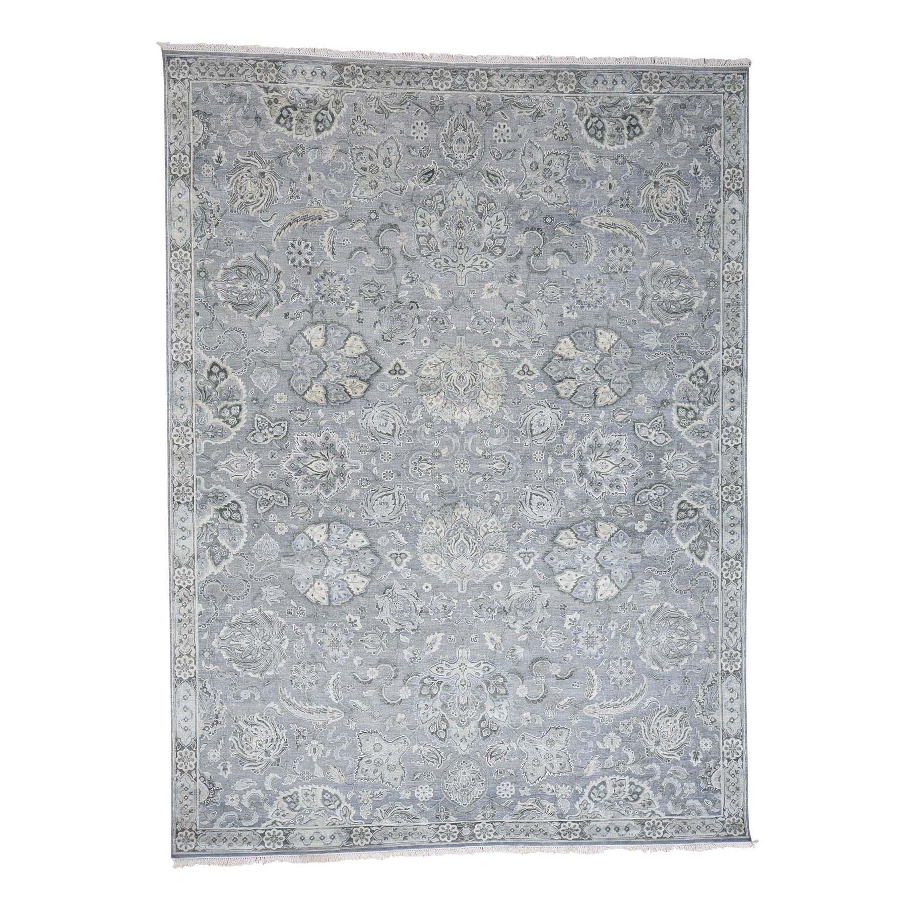 9'X12' Tone On Tone Oushak Silk With Oxidized Wool Hand-Knotted Oriental Rug moad0edb
