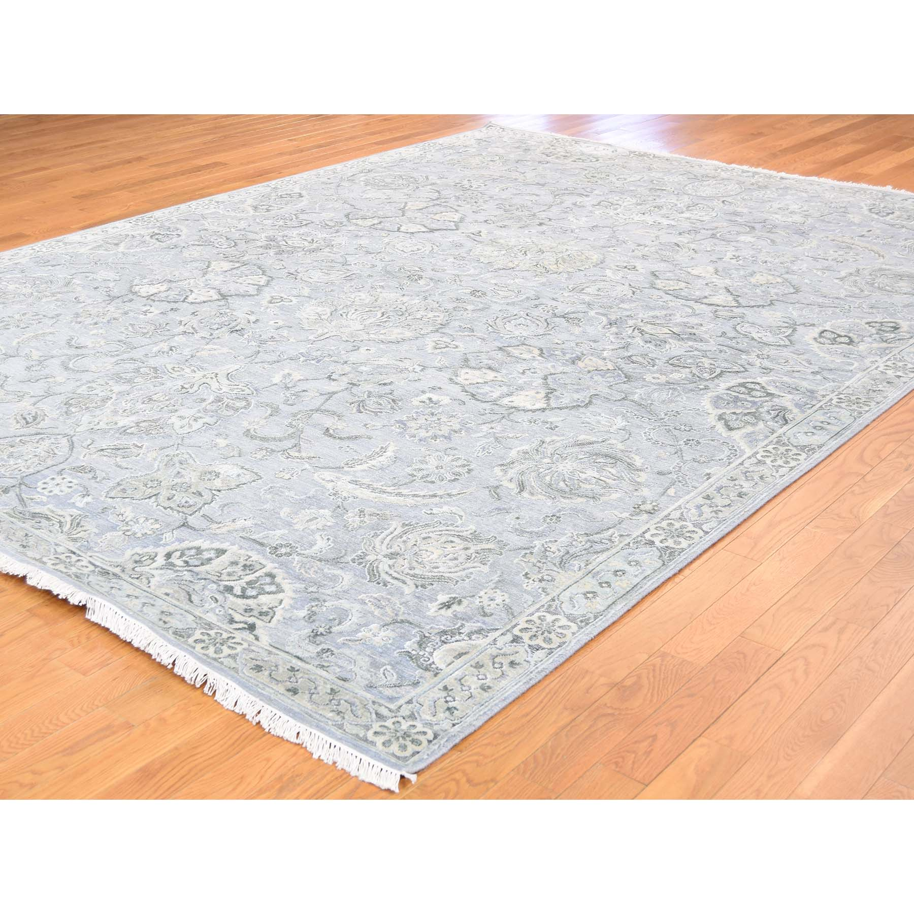 9-x12- Tone on Tone Oushak Silk With Oxidized Wool Hand-Knotted Oriental Rug