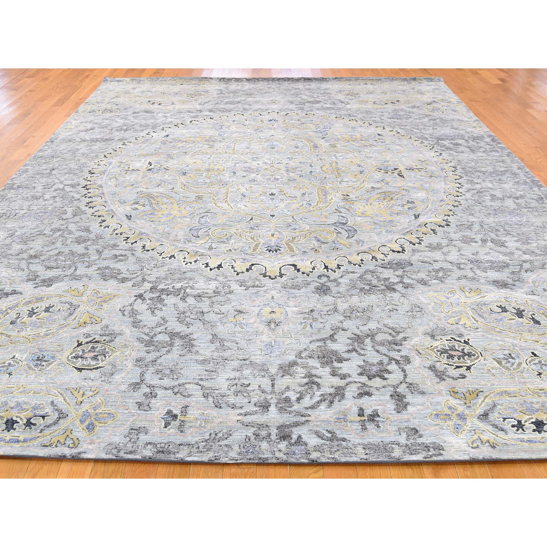 9 x12 THE MAHARAJA Silk with Oxidized Wool Hand-Knotted Oriental Rug