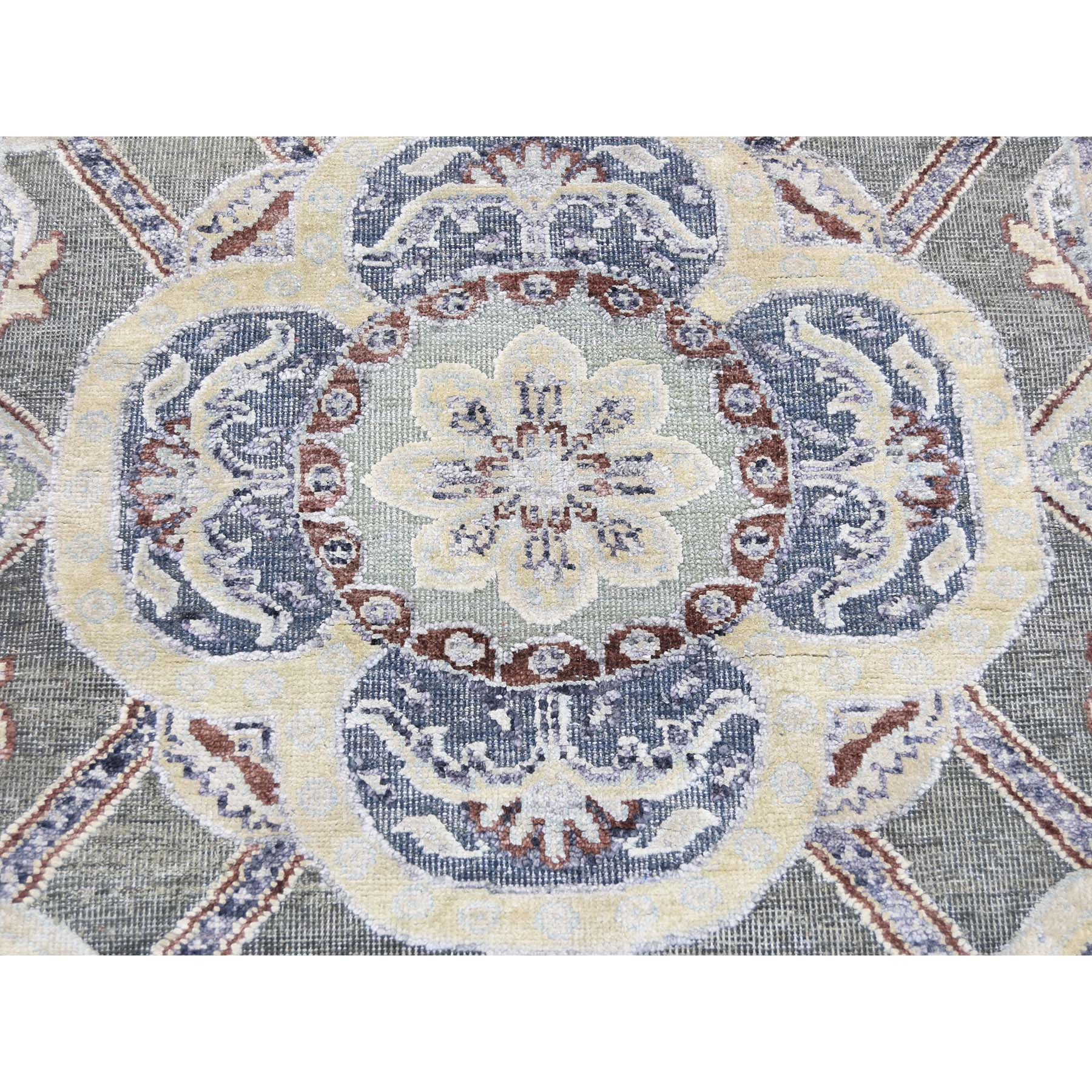 2-6 x12- Silk with Oxidized Wool Rosette Design Hand-Knotted Oriental Rug