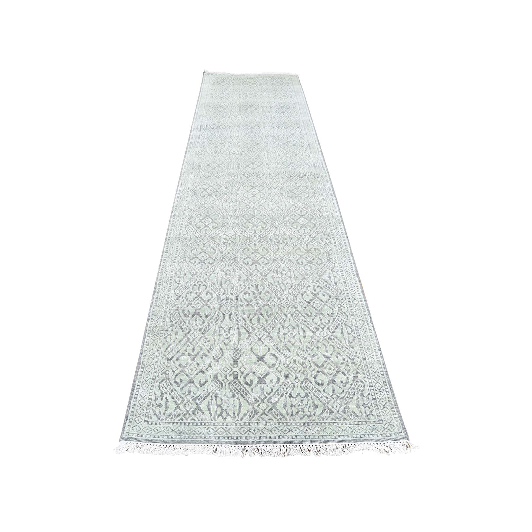 "2'7""X10'4"" Hand-Knotted Tone On Tone Silk With Oxidized Wool Runner Oriental Rug moad0e7a"