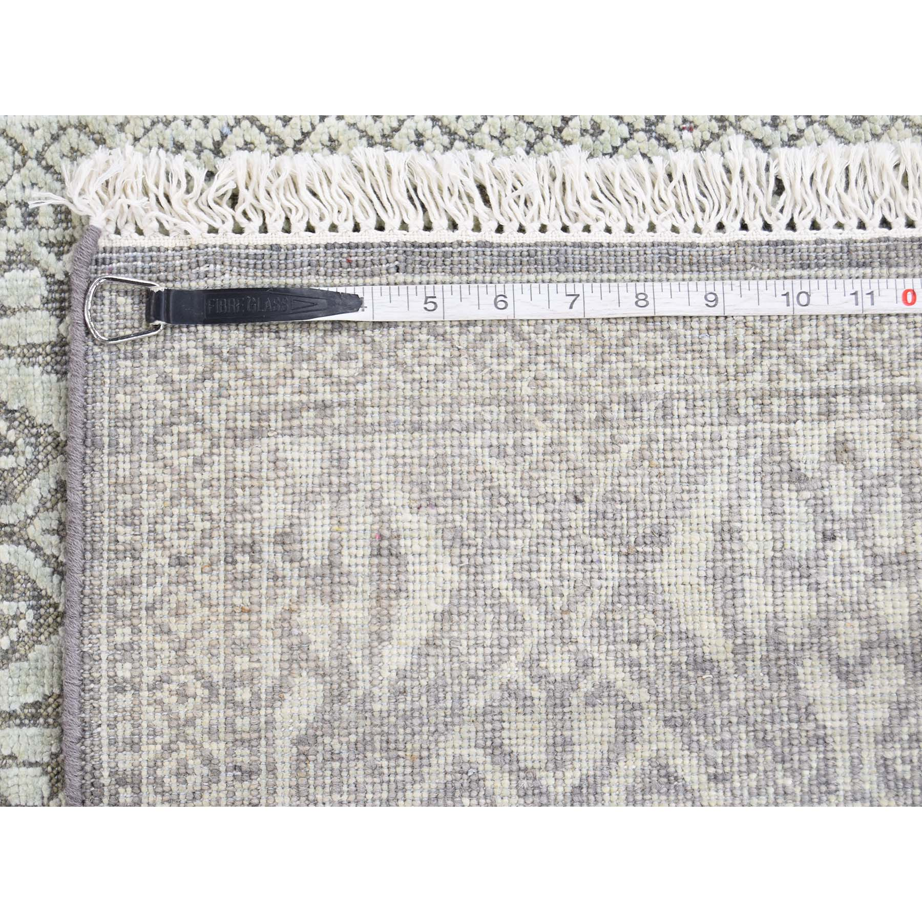 2-7 x10-4  Hand-Knotted Tone on Tone Silk with Oxidized Wool Runner Oriental Rug