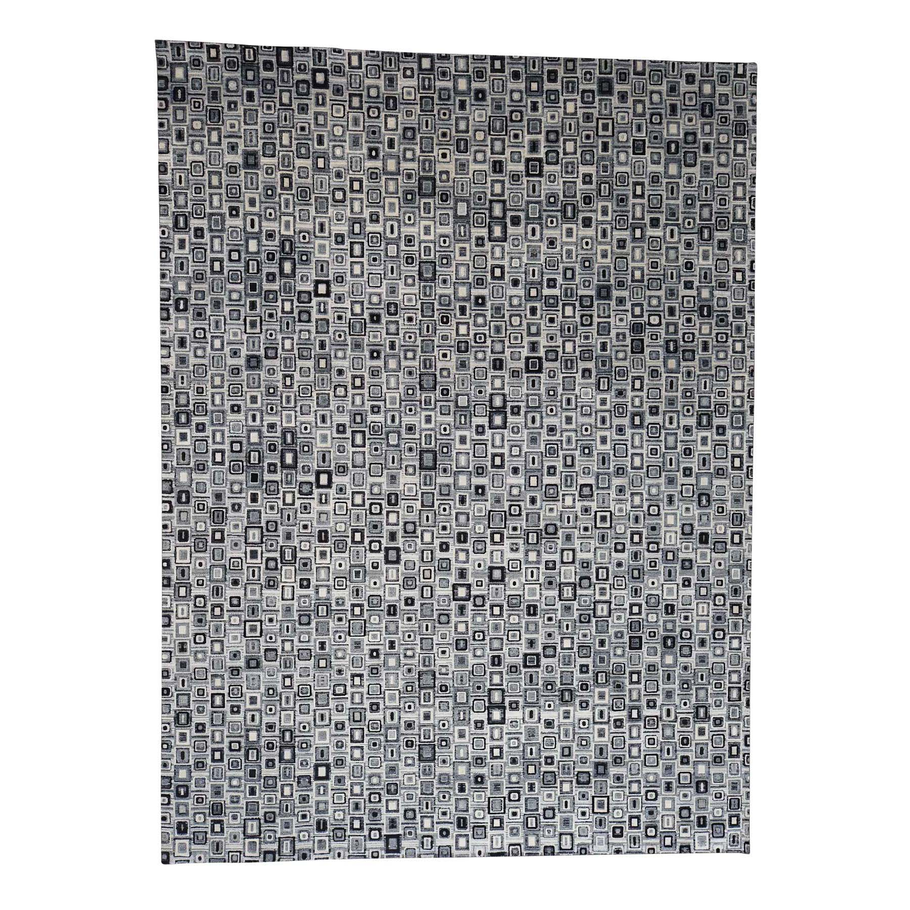 "9'X12'1"" The Squares Real Silk Hand-Knotted Oriental Rug moad0e8c"