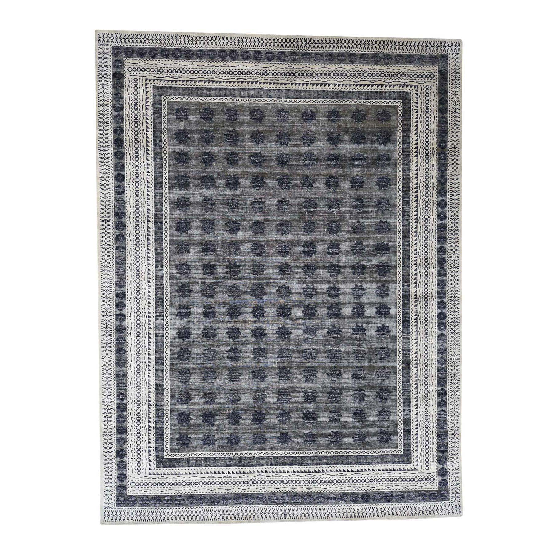 9'X12' Hand-Knotted Silk With Oxidized Wool Repetitive Design Oriental Rug moad0e8e