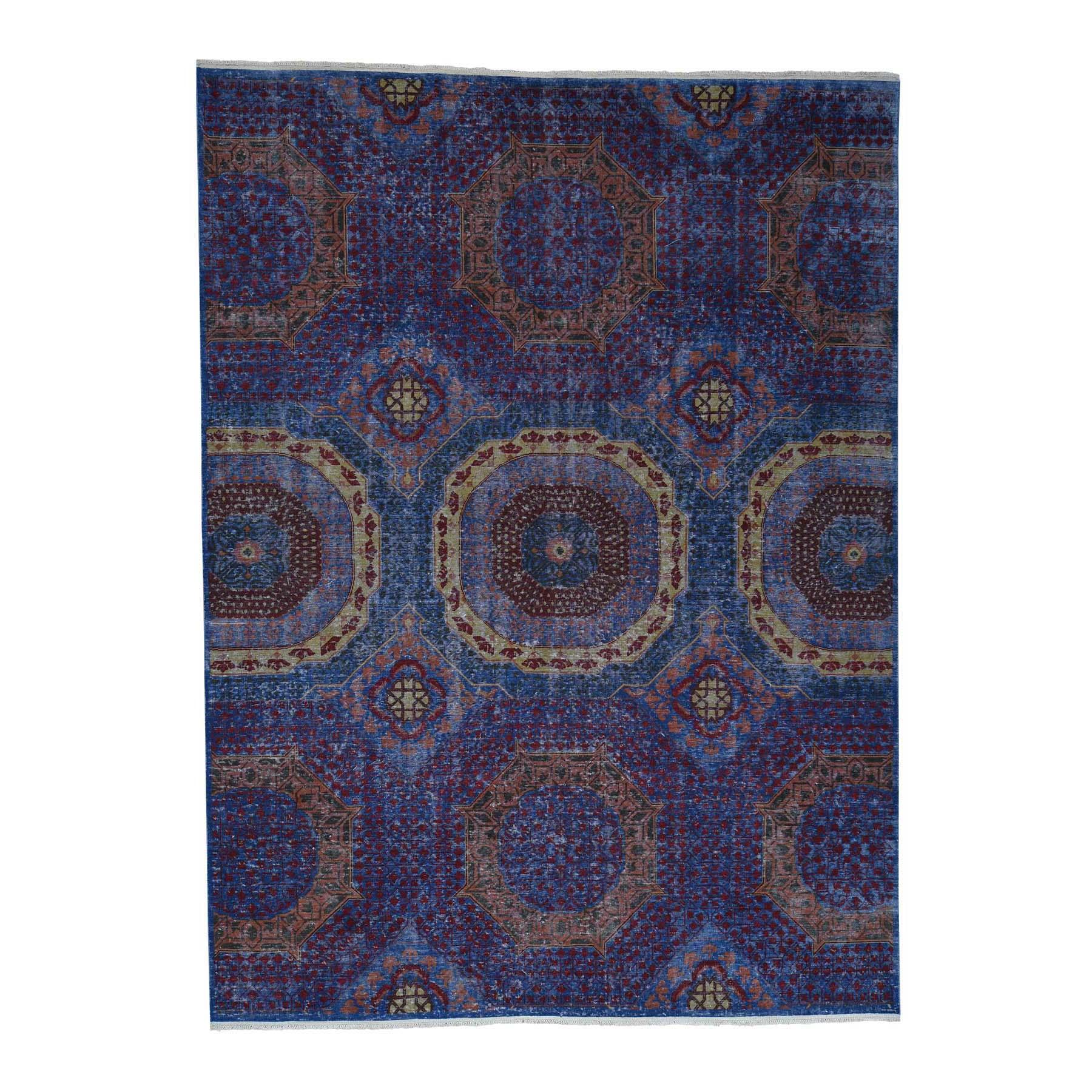 9'X12' Vintage Pre-Historical Mamluk Design Zero Pile Oxidized Wool Oriental Rug moad0e97
