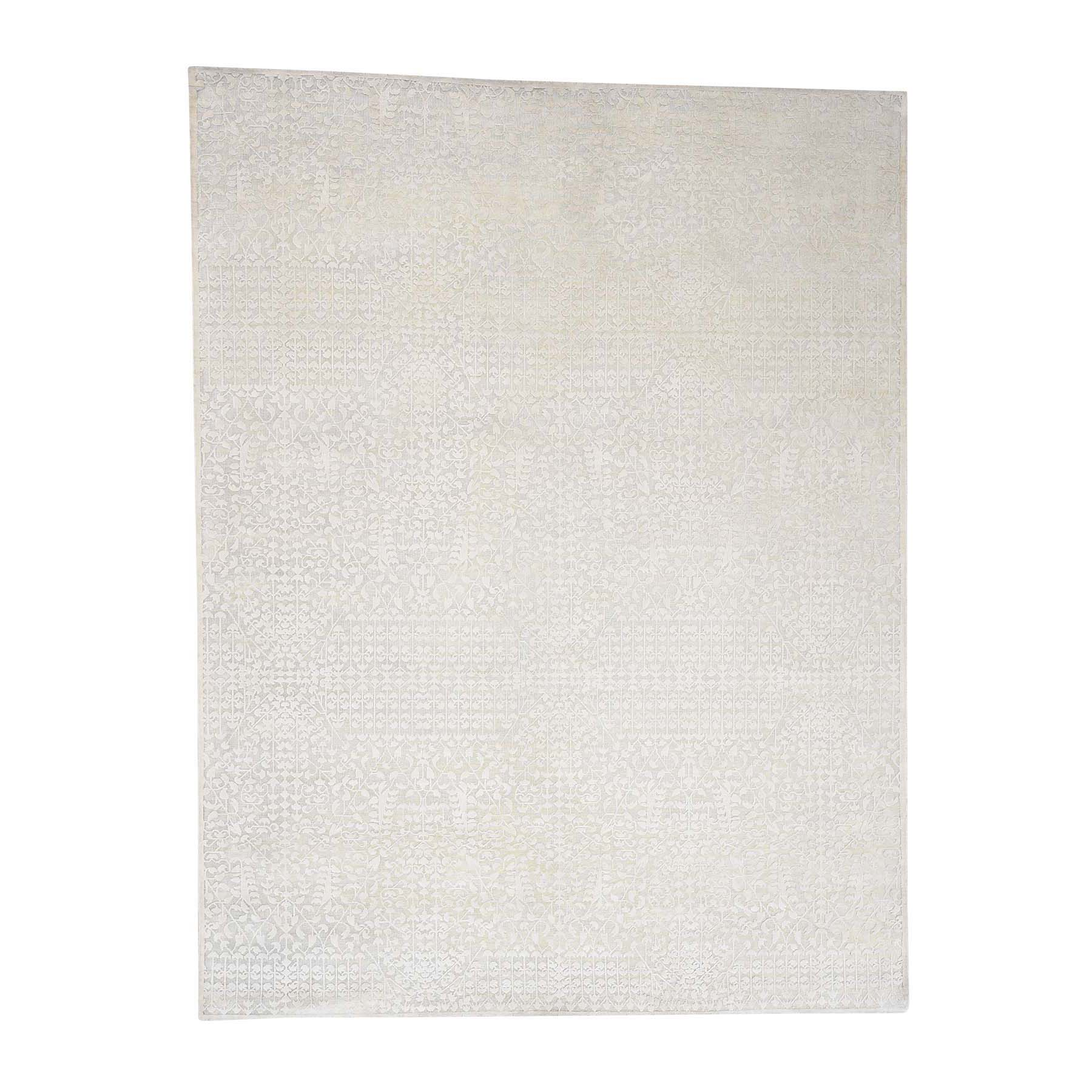 "9'1""X12' Hand-Knotted Tone On Tone Pure Silk With Oxidized Wool Oriental Rug moad0e98"