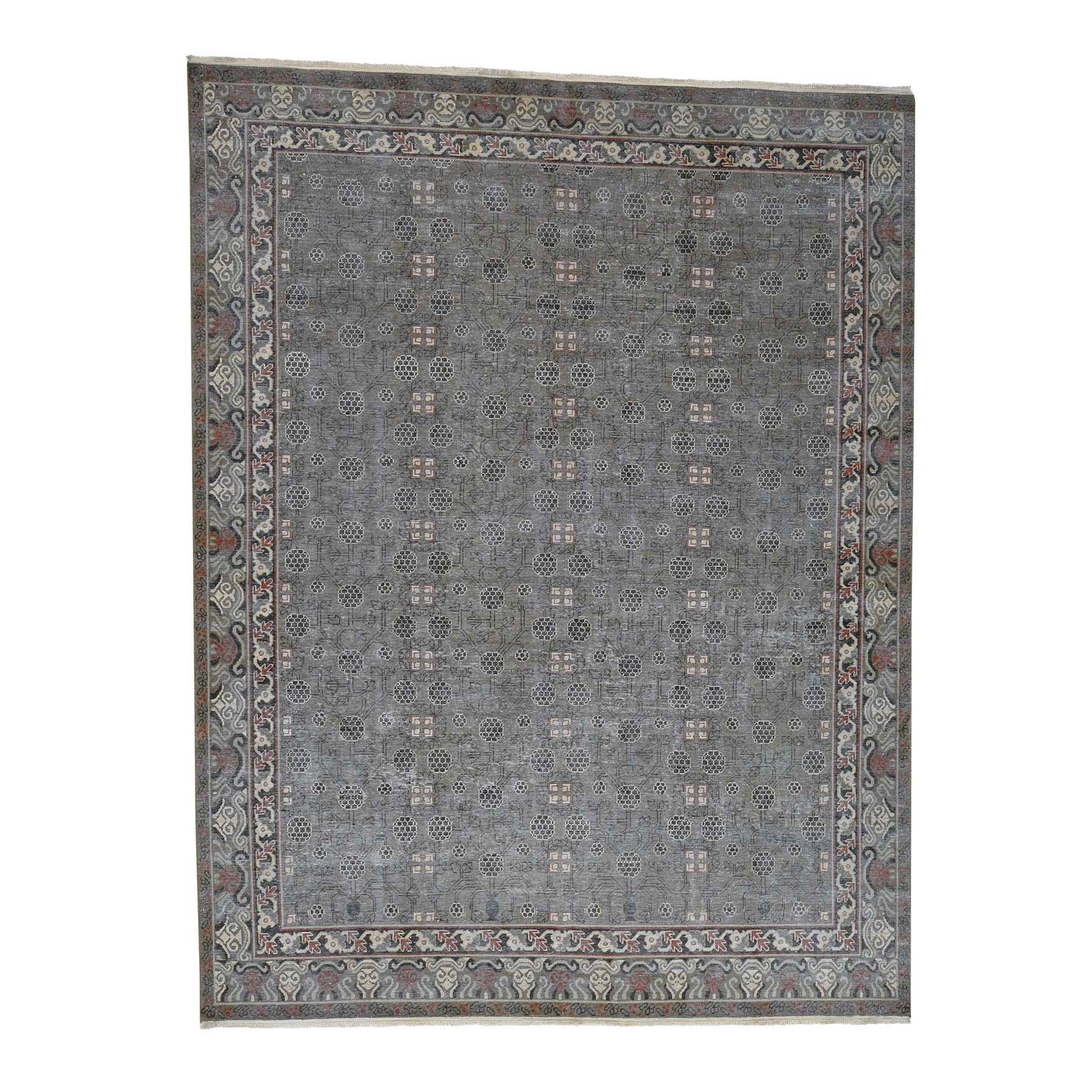 "9'2""X11'10"" Vintage Khotan With Pomegranate Design Zero Pile Distressed Oriental Rug moad0e99"