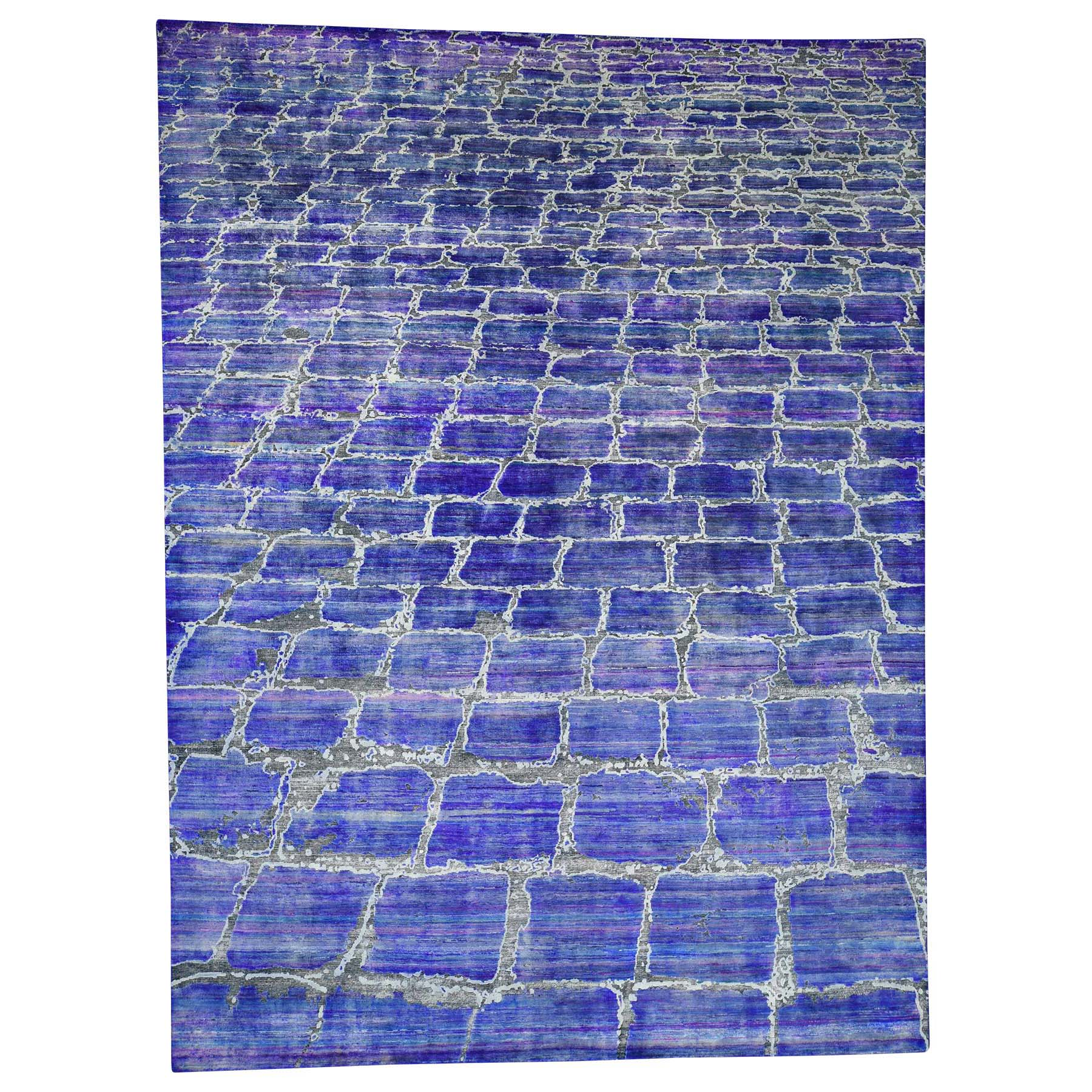 "8'10""x12' DIMINISHING BRICKS Sari Silk with Textured Wool Hand-Knotted Oriental Rug 40601"