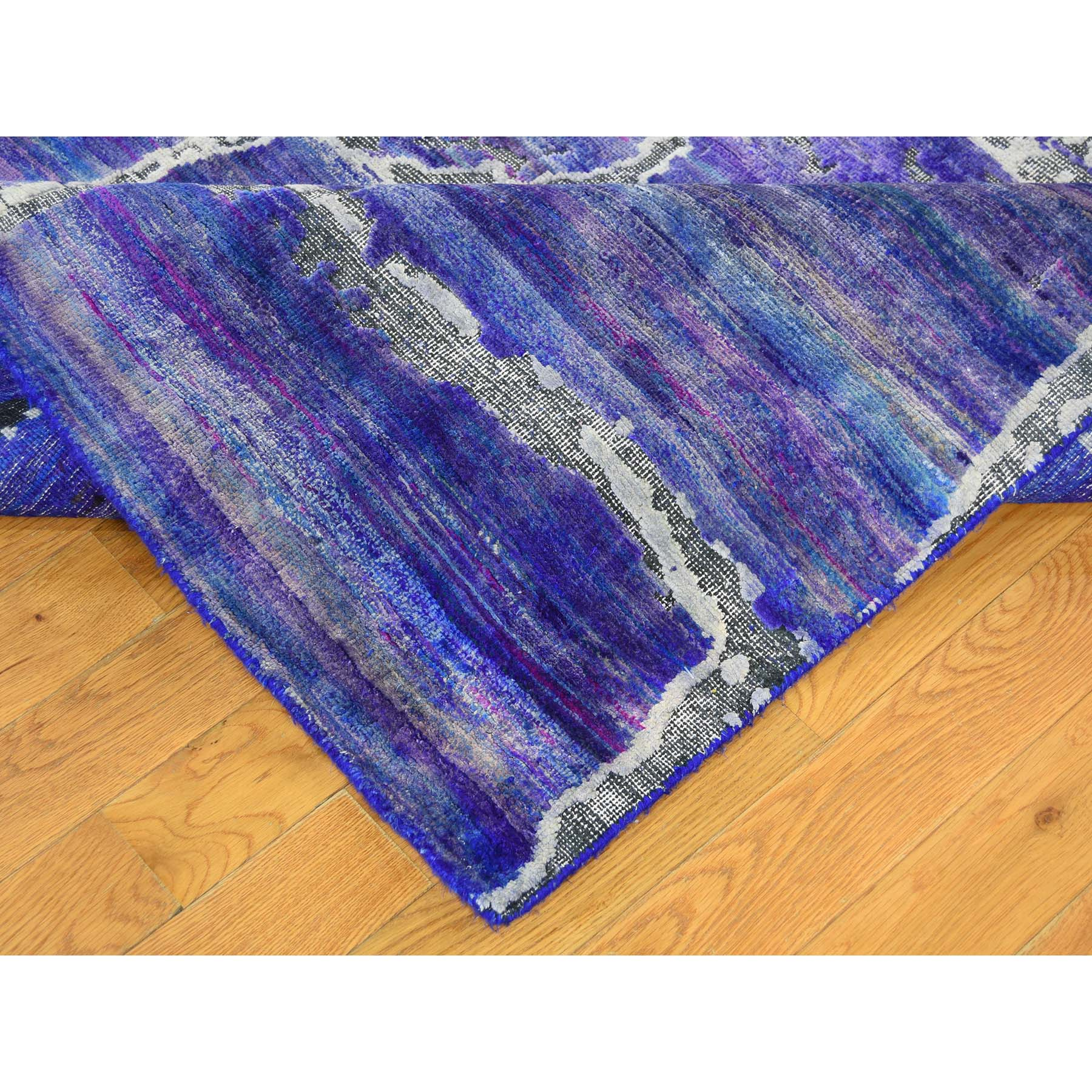 "8'10""x12' DIMINISHING BRICKS Sari Silk with Textured Wool Hand-Knotted Oriental Rug"