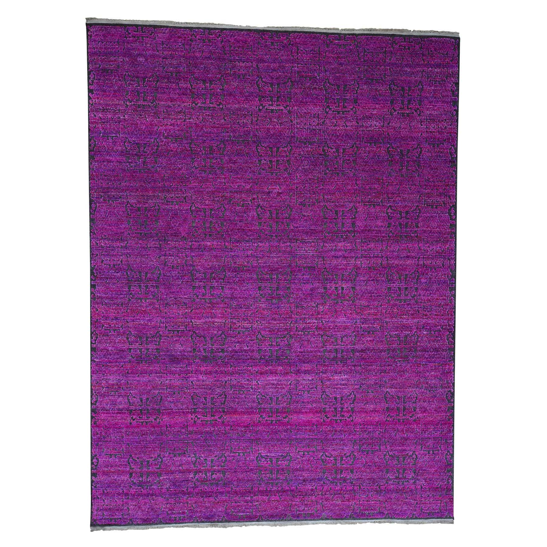 "8'10""X11'10"" Fuchsia Colors Sari Silk With Oxidized Wool Hand-Knotted Oriental Rug moad0608"