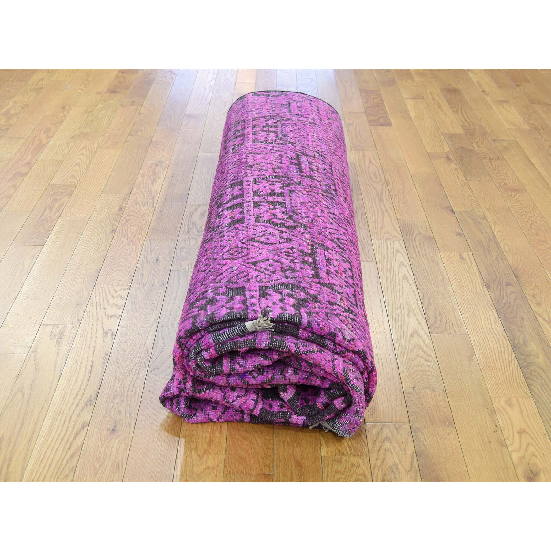 8-10 x11-10  Fuchsia Colors Sari Silk with Oxidized Wool Hand-Knotted Oriental Rug