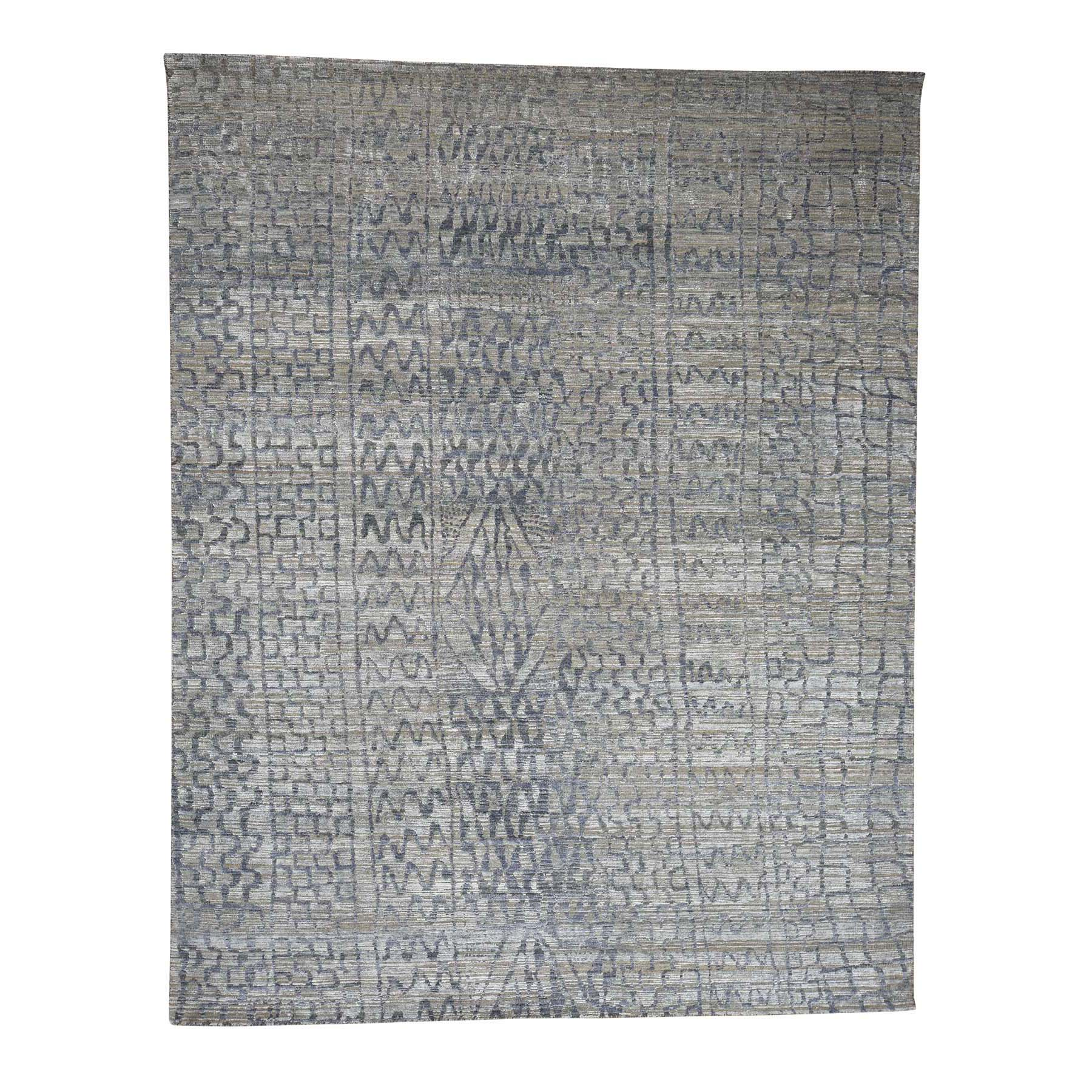 "8'X10'1"" The Erased Moroccan Silk With Oxidized Wool Hand-Knotted Oriental Rug moad06aa"
