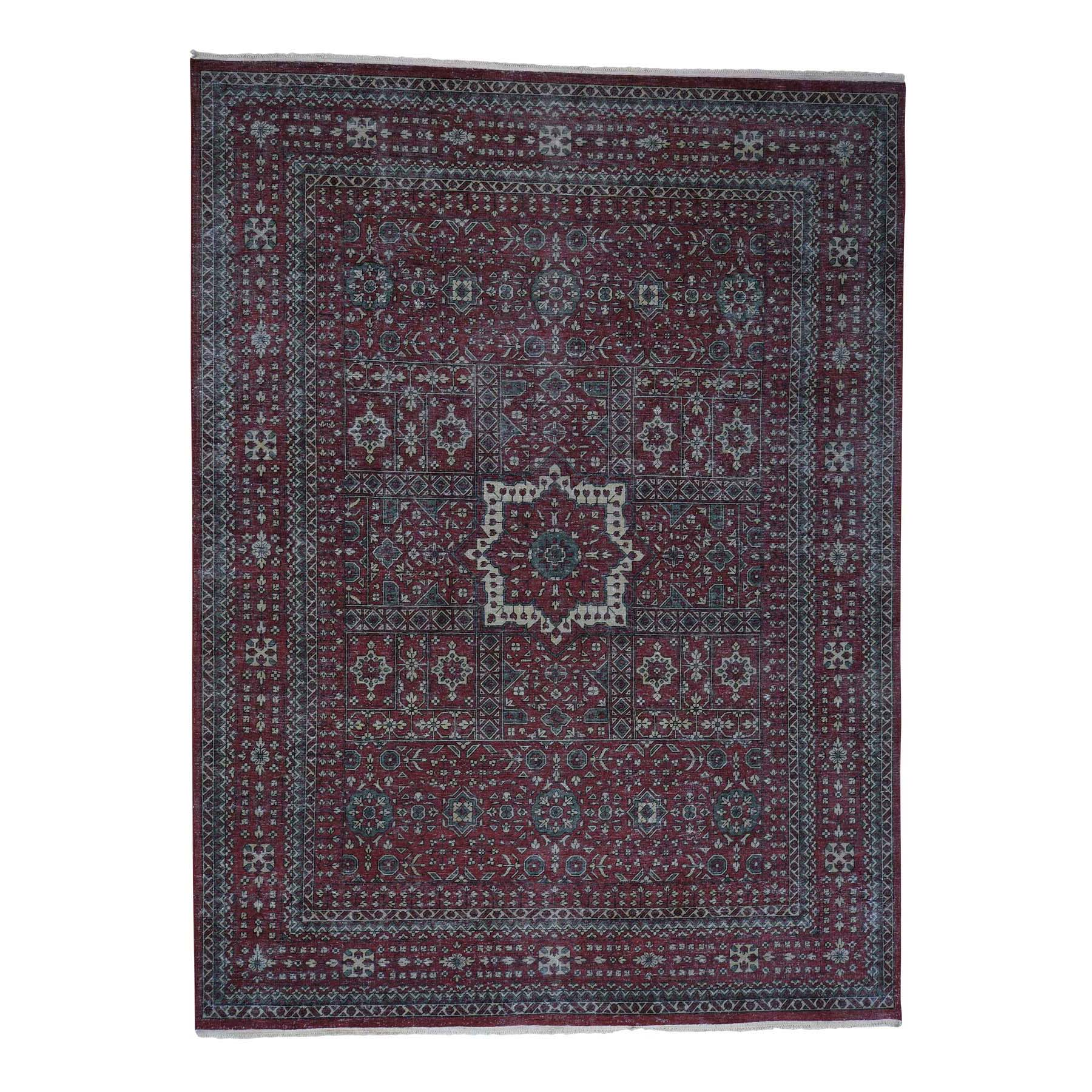 9'X12' Vintage Look Mamluk Distressed Zero Pile Shaved Low Worn Wool Rug moad06b0