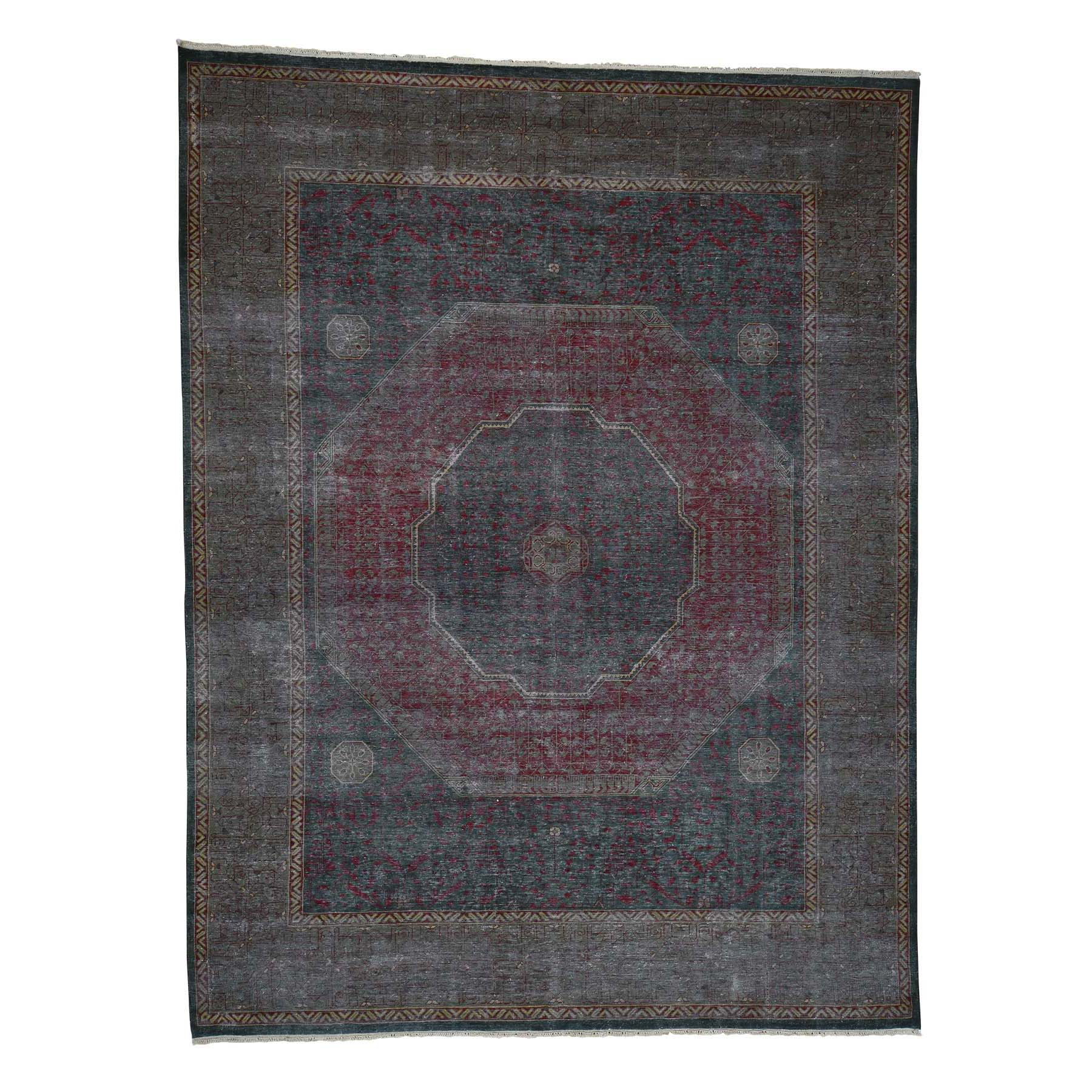 "9'1""X11'10"" Vintage Look Mamluk Zero Pile Shaved Low Worn Wool Rug moad06ba"