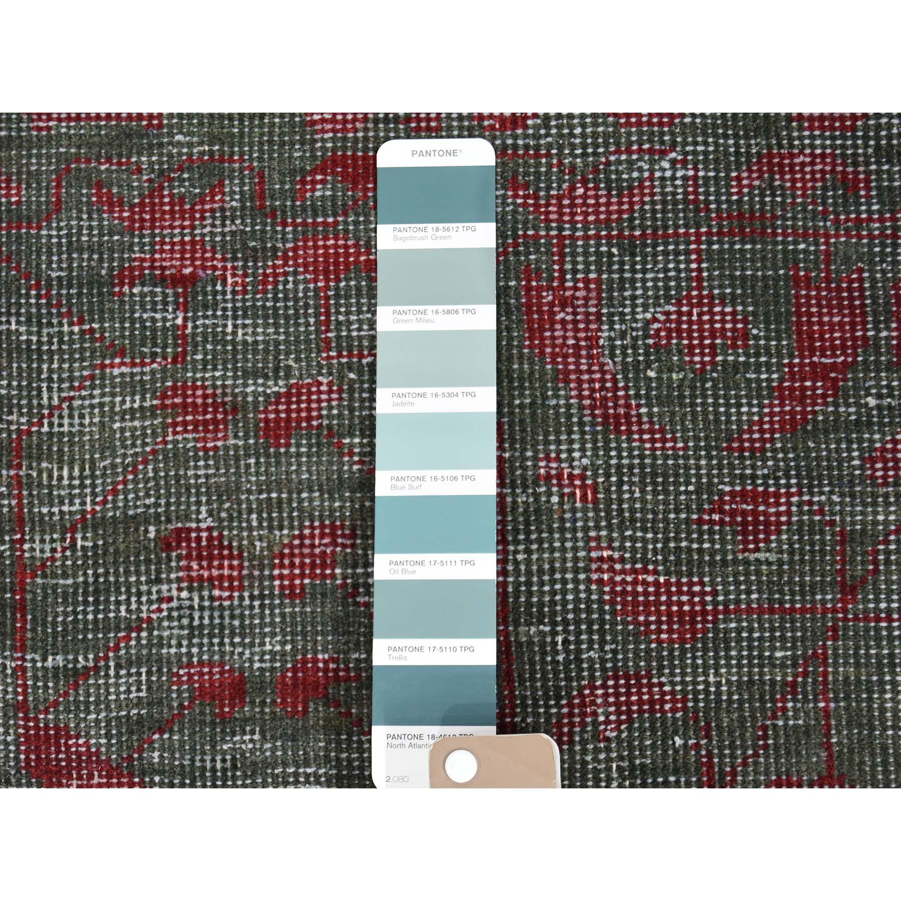 9-1 x11-10  Vintage Look Mamluk Zero Pile Shaved Low Worn Wool Rug