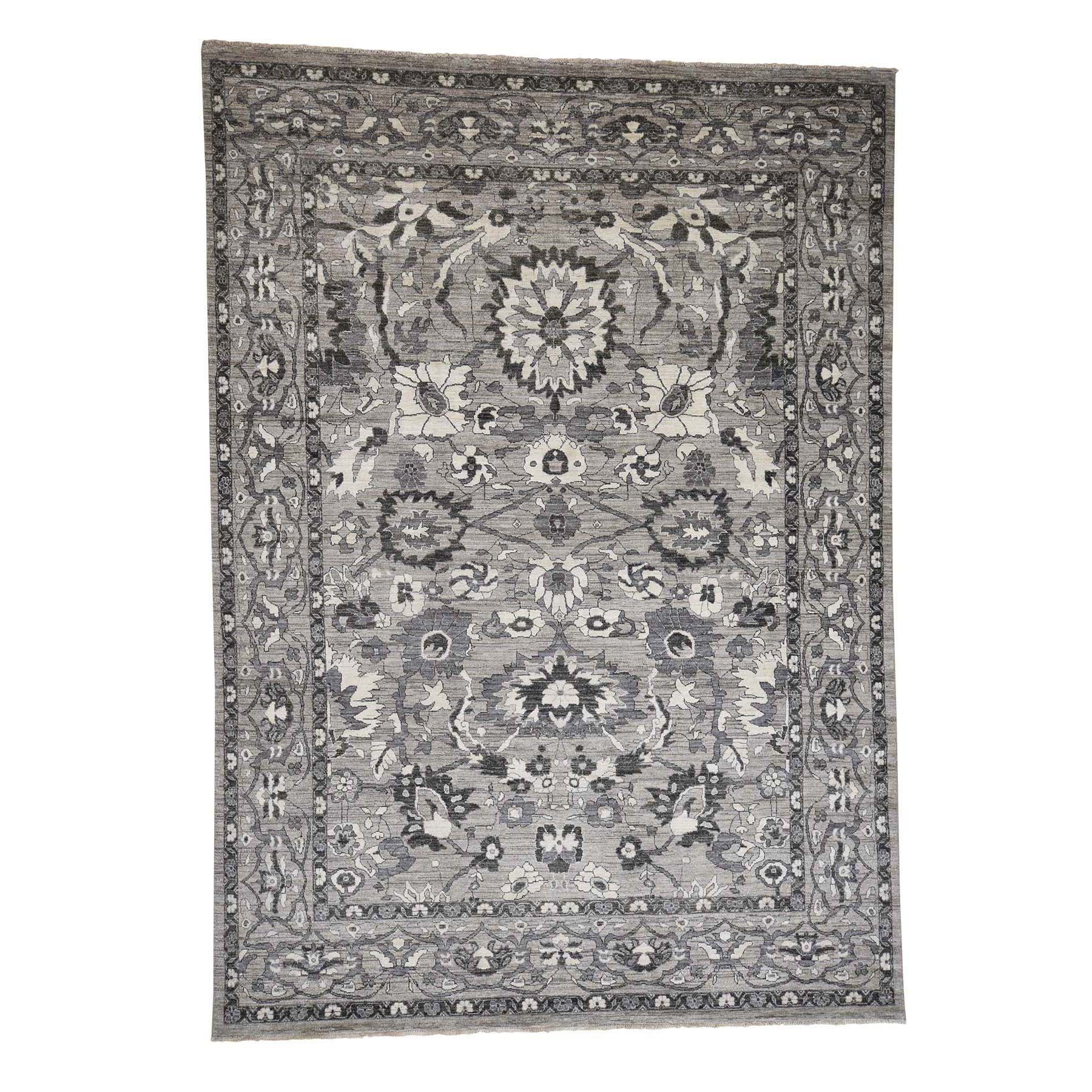 "9'1""X12'6"" Natural Colors Mahal Design Grey Peshawar Hand-Knotted Oriental Rug moad06dd"