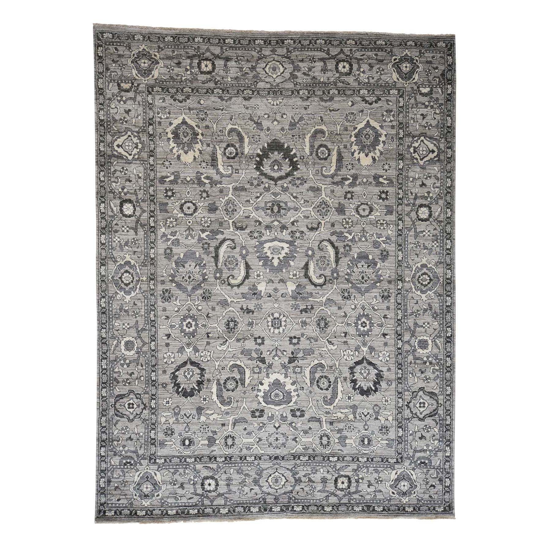 "9'1""X12'3"" Natural Colors Mahal Design Grey Peshawar Hand-Knotted Oriental Rug moad06de"