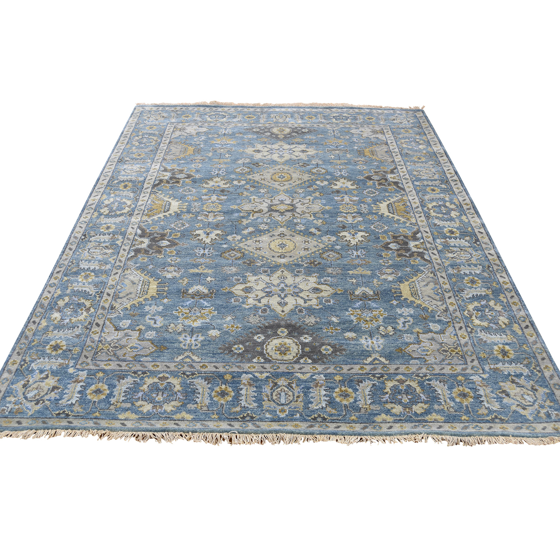 "5'X6'9"" Hand-Knotted Karajeh Pure Wool Denim Blue Oriental Rug moad0686"