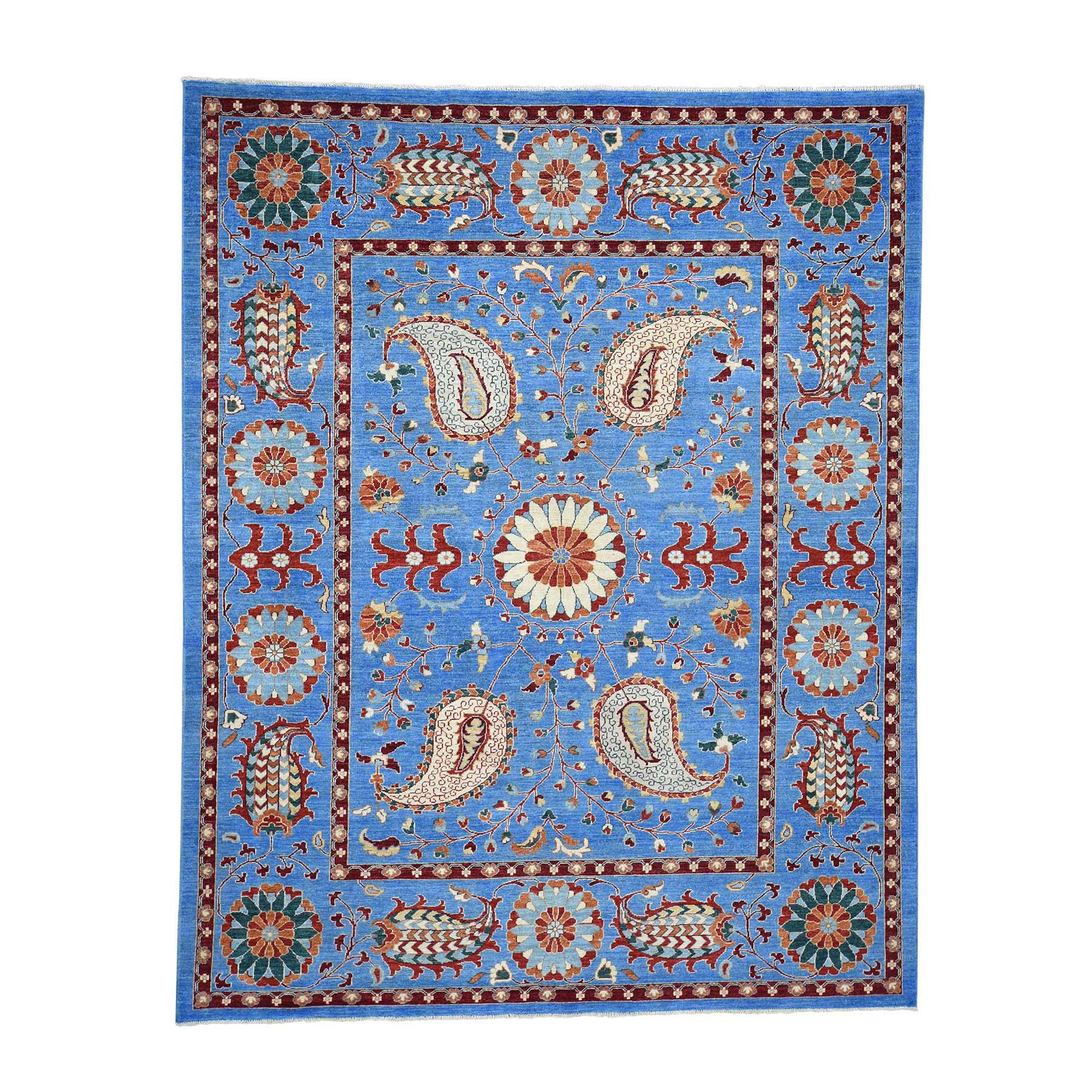 "8'2""X10'2"" Hand-Knotted Peshawar With Suzani Design Pure Wool Oriental Rug moad0697"