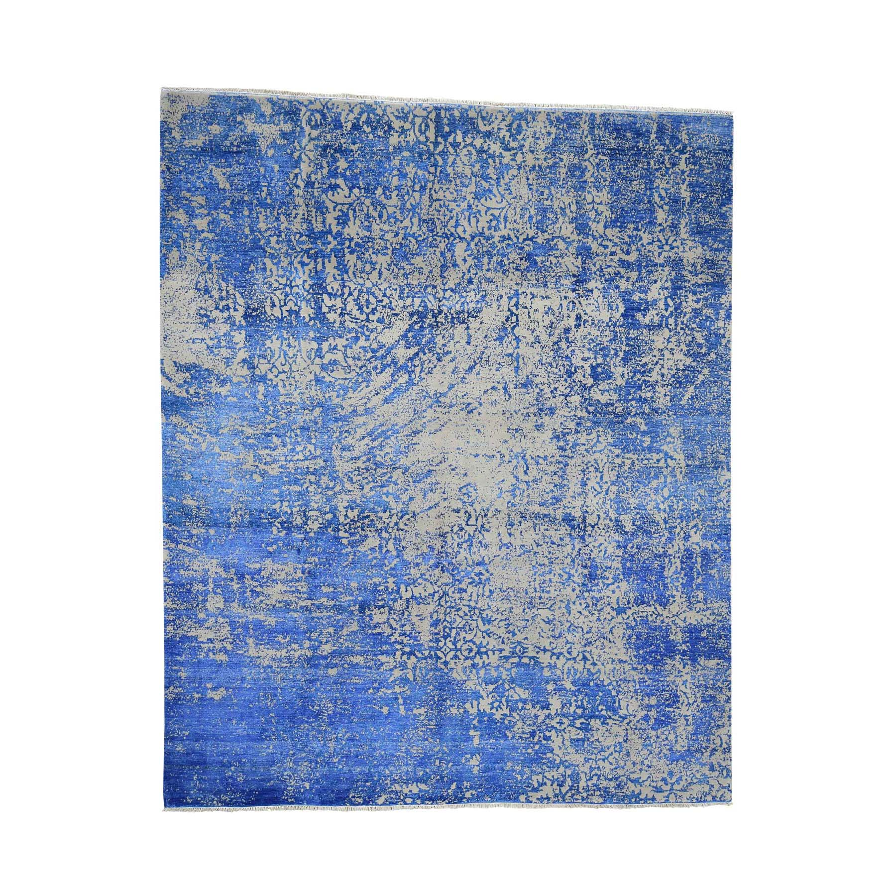 "8'1""X9'10"" Hand-Knotted Abstract Design Tone On Tone Wool And Silk Oriental Rug moad07b7"