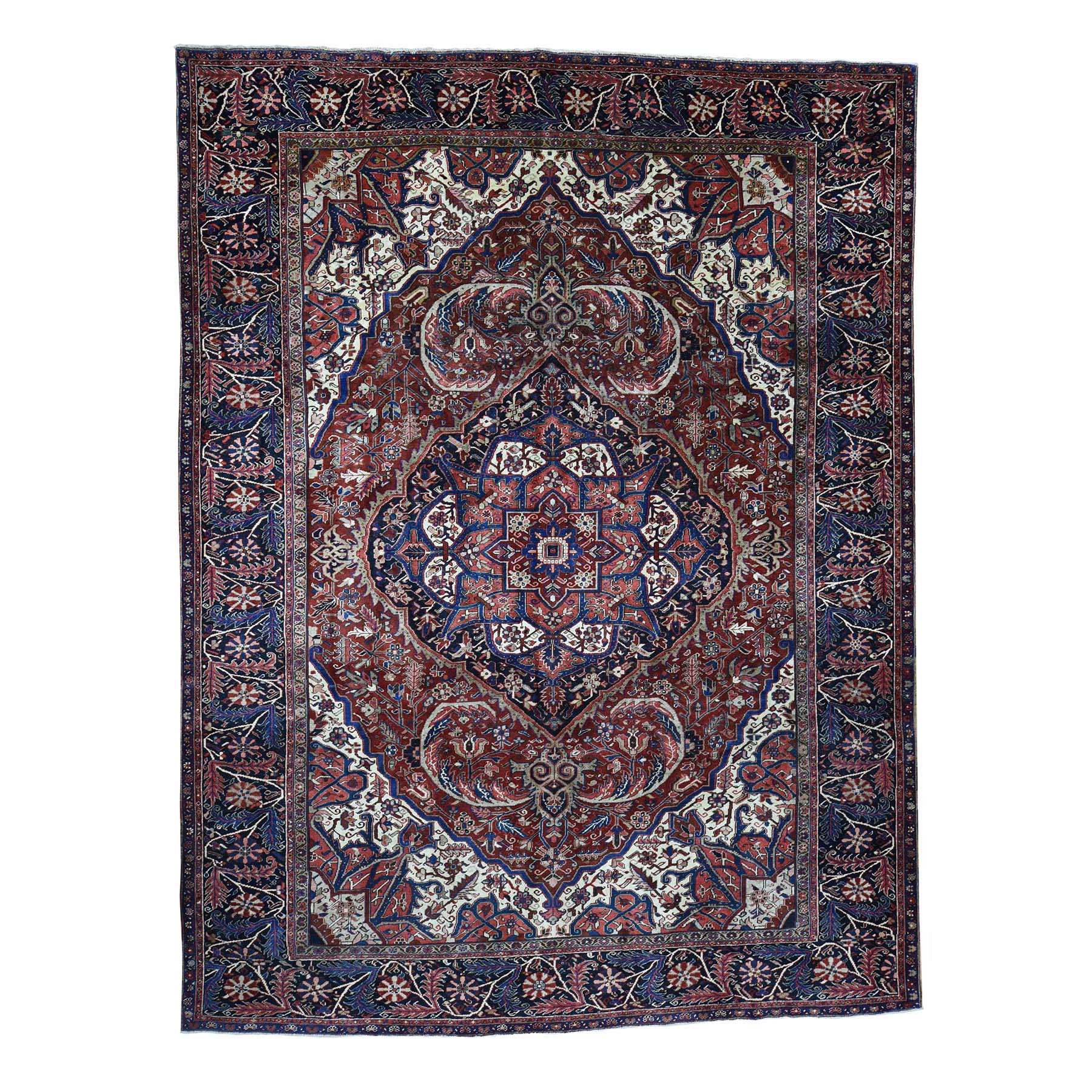 "10'4""X13'3"" Hand-Knotted Vintage Persian Heriz Even Wear Clean Circa 1930 Oriental Rug moad07d6"