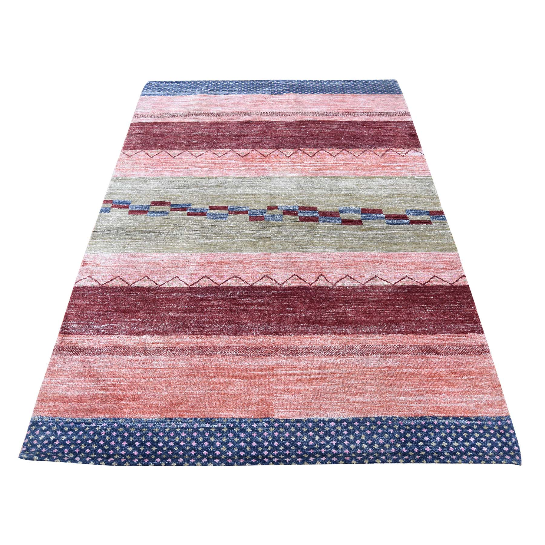 "3'9""X5'9"" Hand-Loomed Gabbeh Design Colorful Pure Wool Oriental Rug moad07ea"