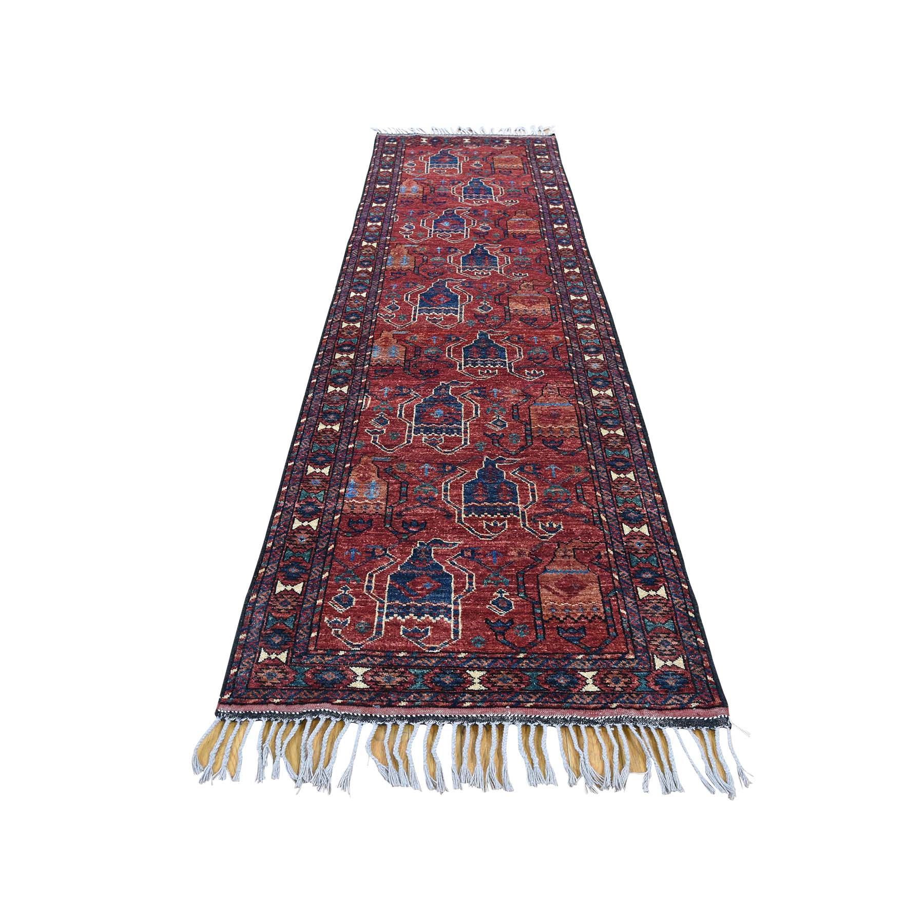 "2'9""X9'5"" Afghan Ersari Boteh Design Hand-Knotted Oriental Runner Rug moad076e"