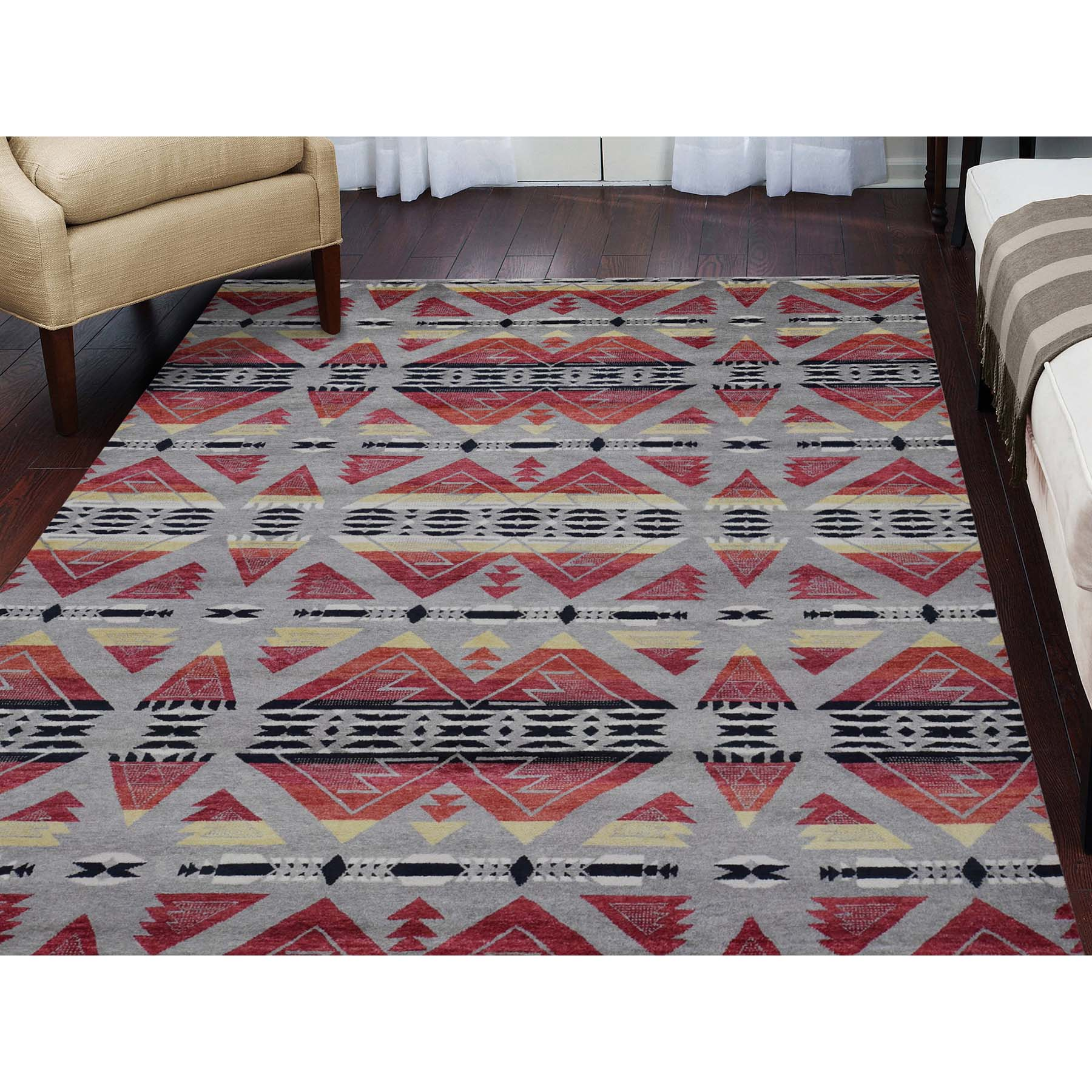7-10 x9-9  Hand Knotted Southwestern Design Pure Wool Oriental Rug