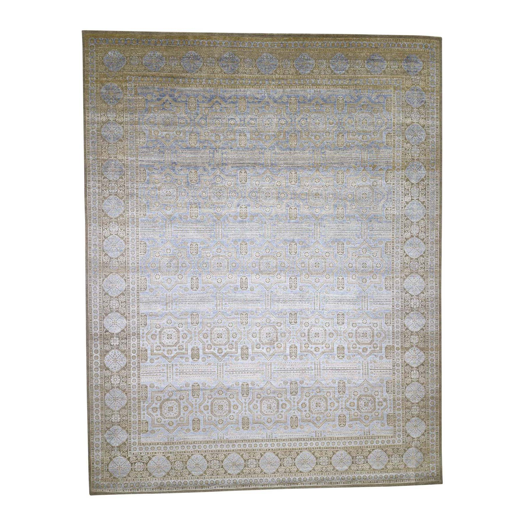 "11'10""X15' Mamluk Design Silk With Oxidized Wool Hand-Knotted Oversized Oriental Rug moad0769"