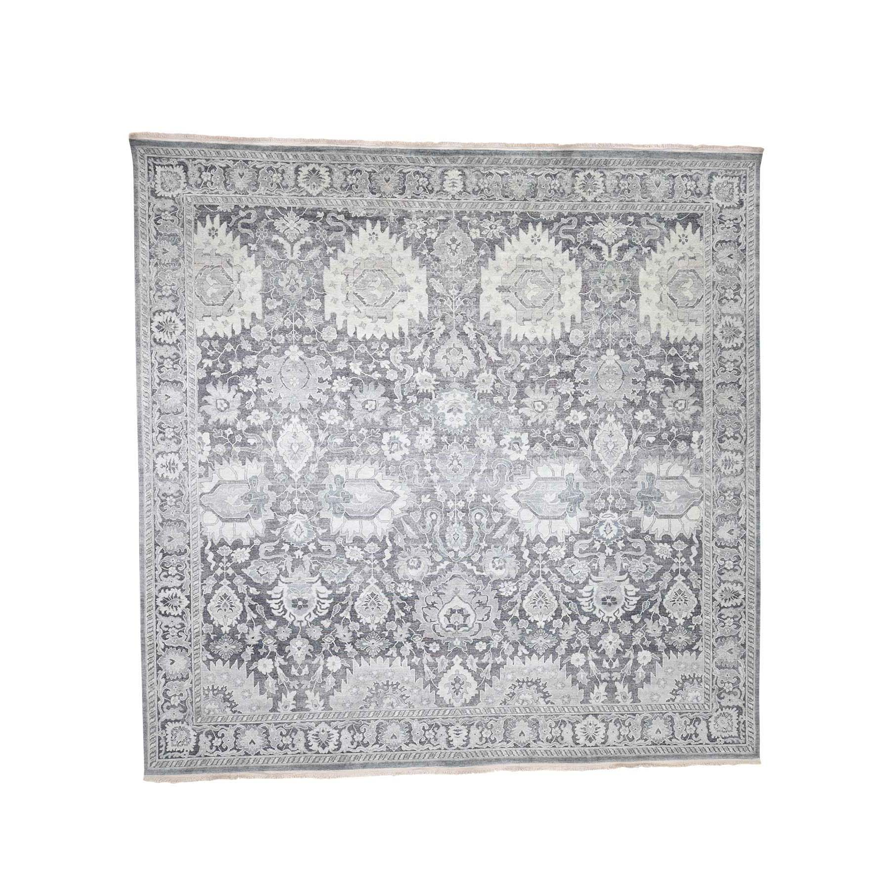 12'X12' Oushak Influence Silk With Oxidized Wool Hand-Knotted Square Oriental Rug moad0779