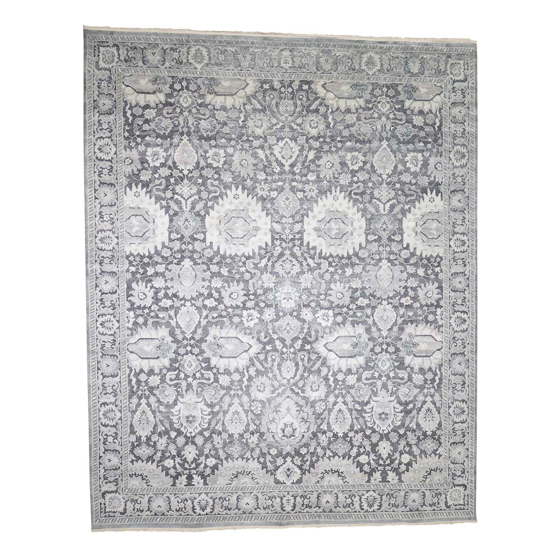 "11'10""x14'10"" Hand-Knotted Oushak Influence Silk with Textured Wool Oversized Oriental Rug"