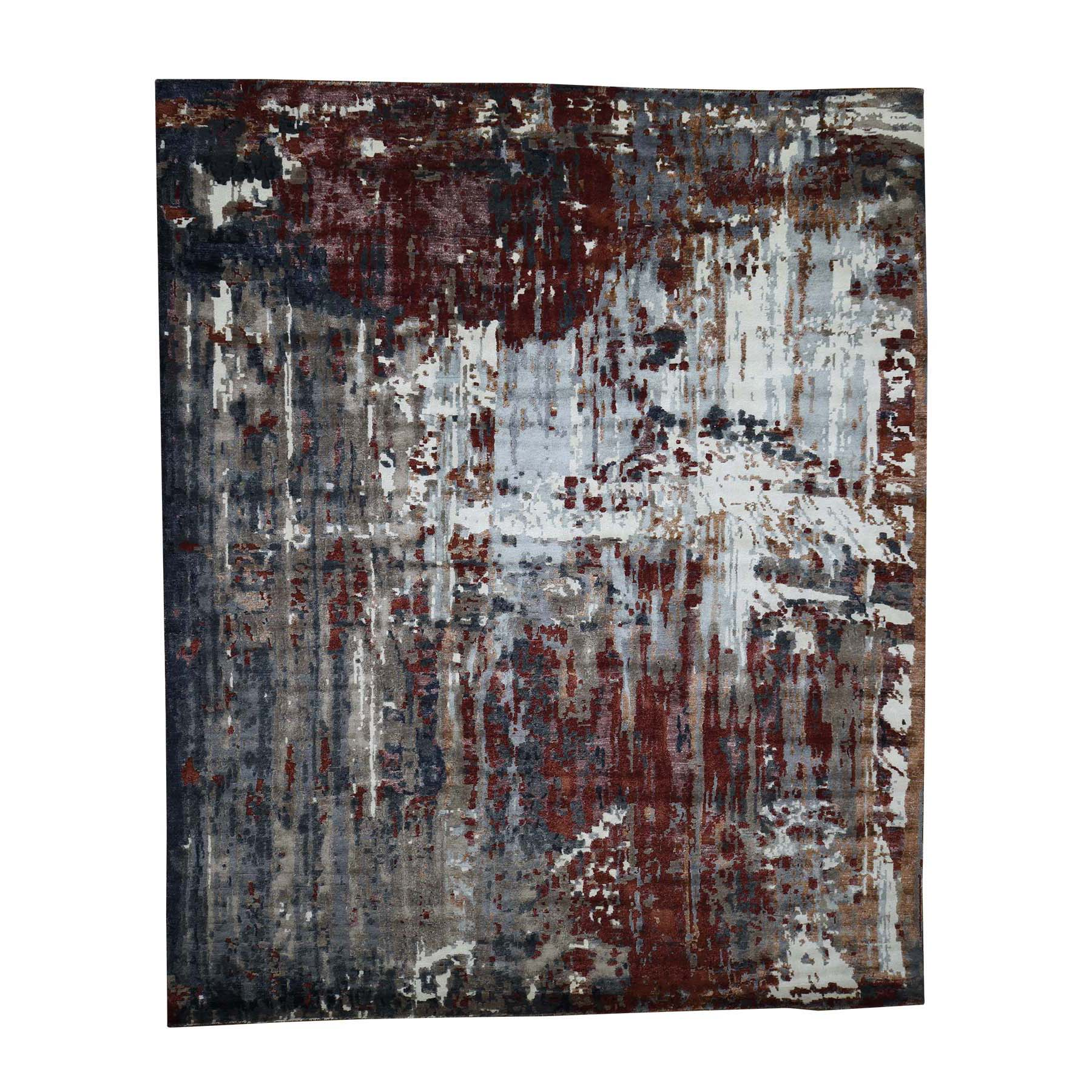 "8'X9'8"" Hand-Knotted Wool And Silk Abstract Design Oriental Rug moad0796"