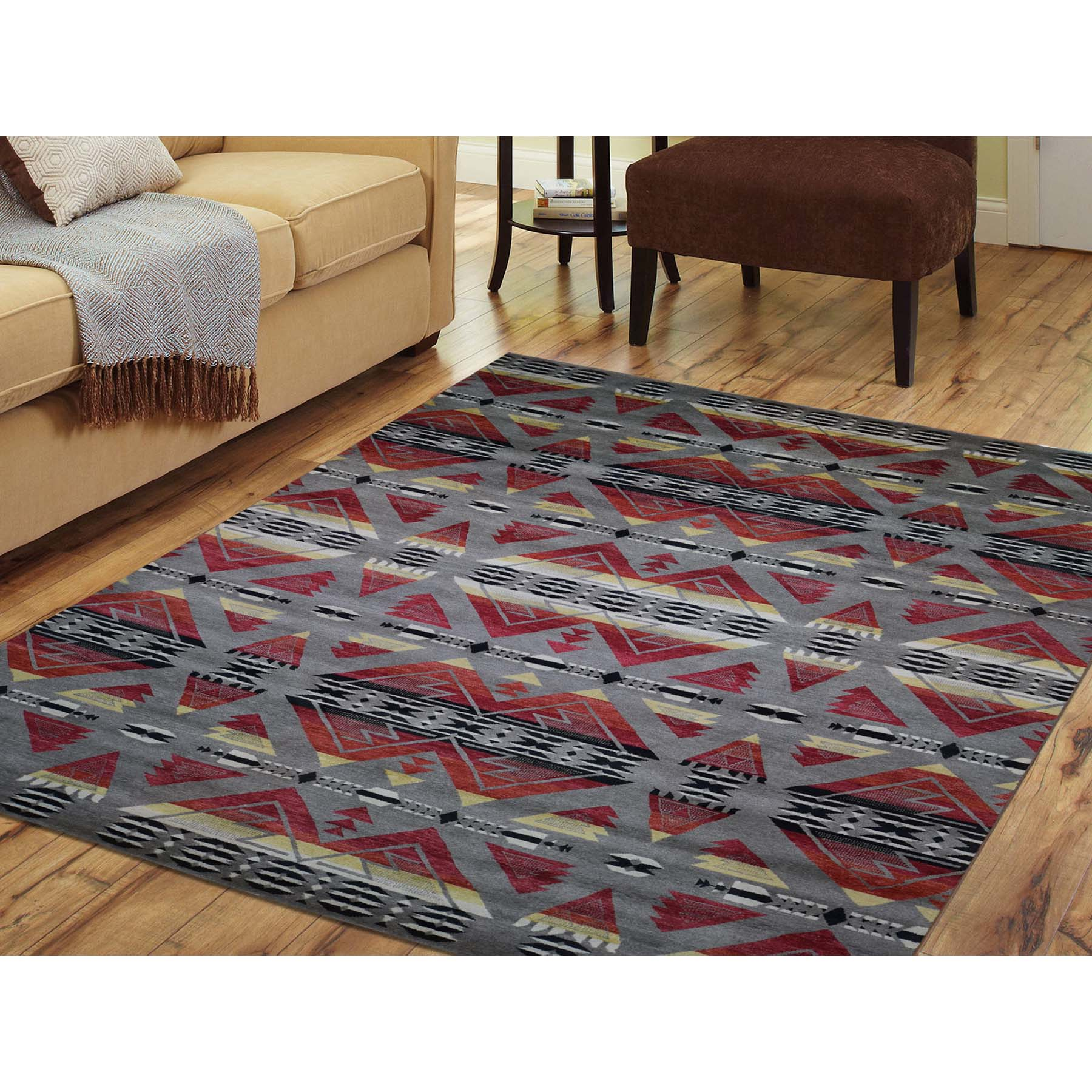 8-10 x11-7  Hand-Knotted Pure Wool Southwestern Design Oriental Rug