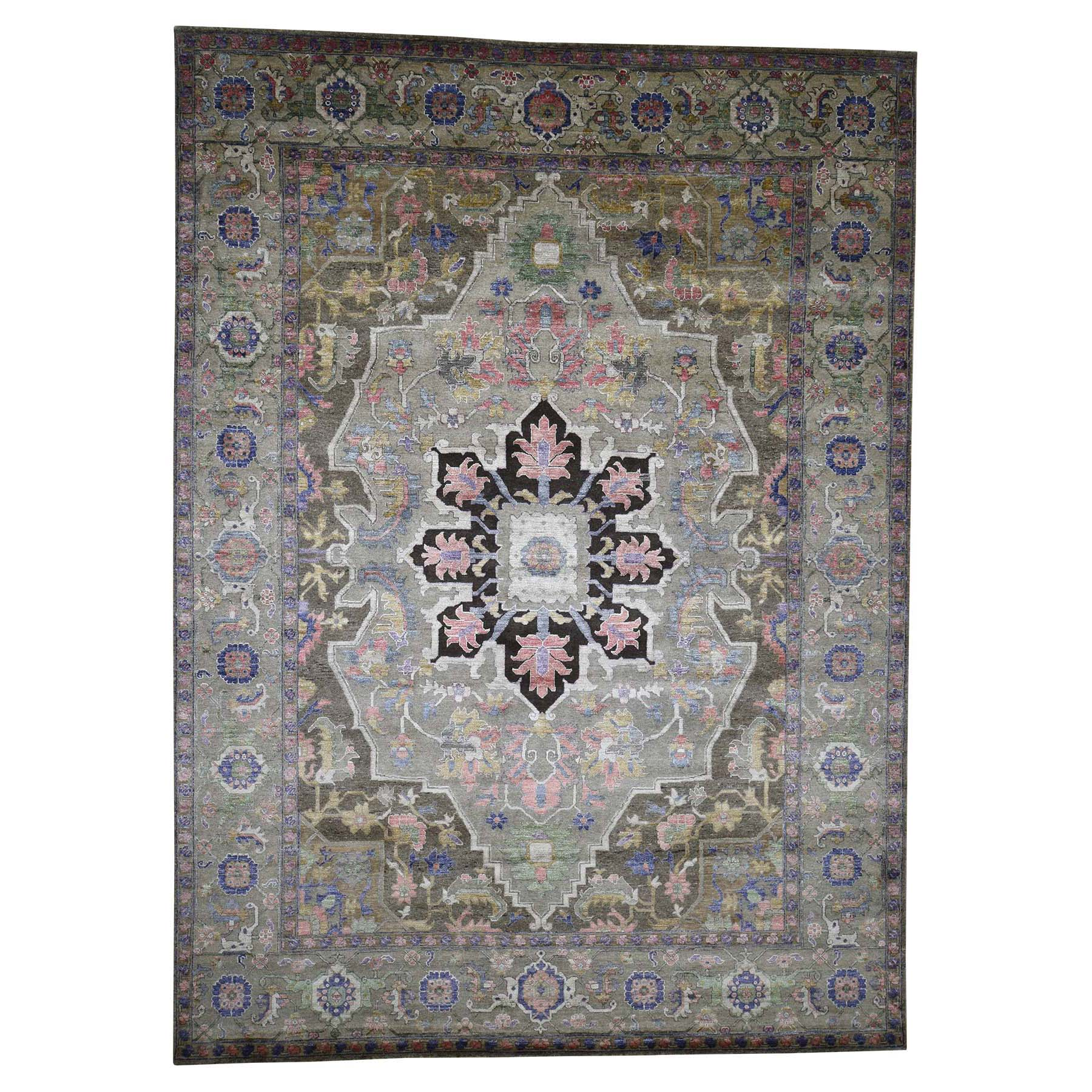 "8'8""X11'10"" Hand-Knotted Wool And Silk Heriz Design Thick And Plush Oriental Rug moad080c"