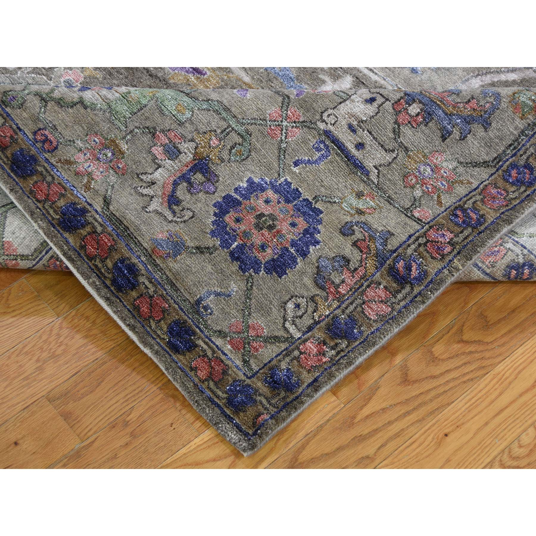 8-8 x11-10  Hand-Knotted Wool And Silk Heriz Design Thick And Plush Oriental Rug