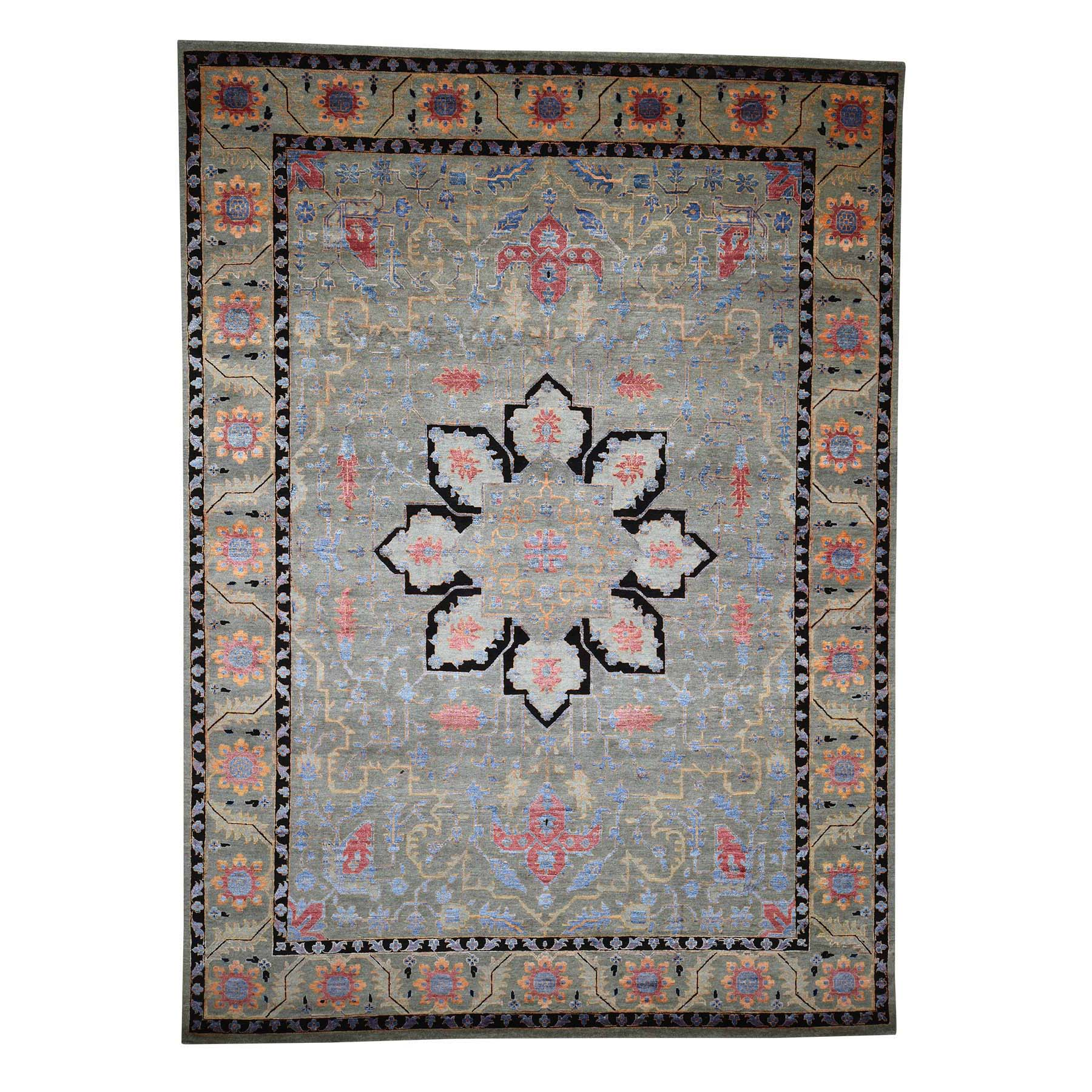 "8'10""X12'1"" Hand-Knotted Heriz Design Wool And Silk Oriental Rug moad080e"