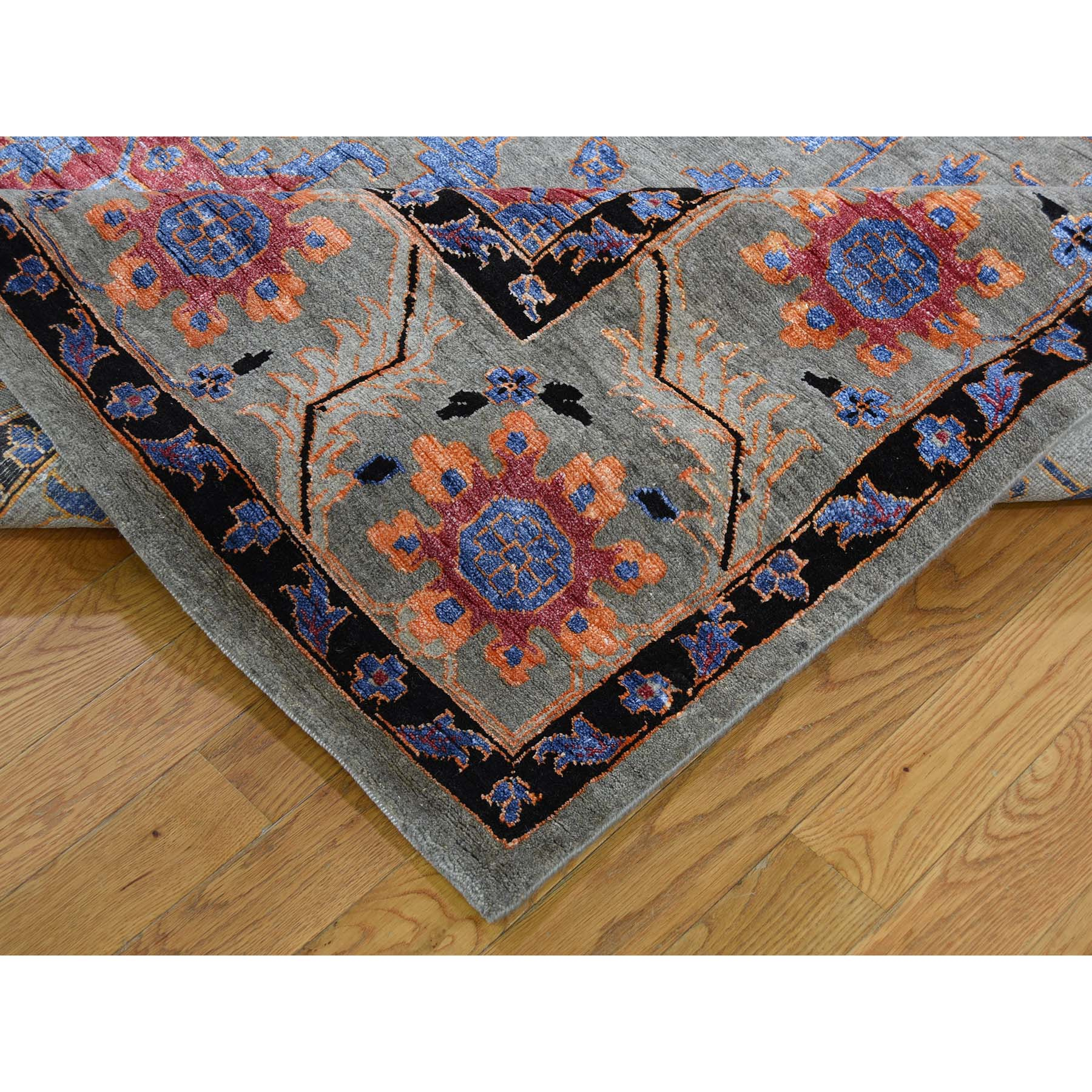 8-10 x12-1  Hand-Knotted Heriz Design Wool And Silk Oriental Rug
