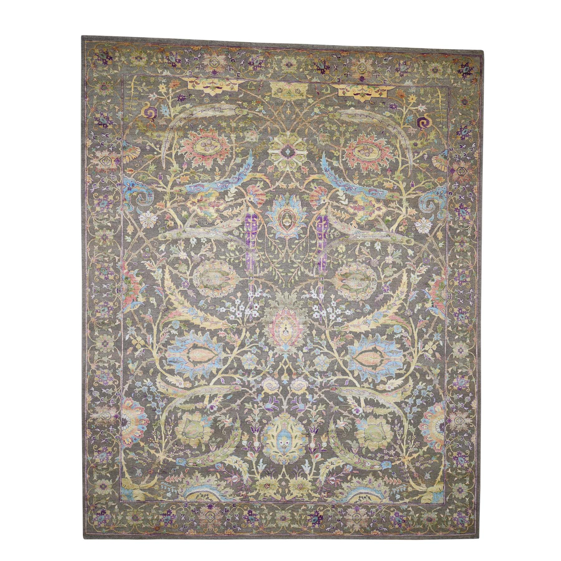8'X10' Hand-Knotted Sickle Leaf Design Pure Silk With Textured Wool Oriental Rug moad08aa