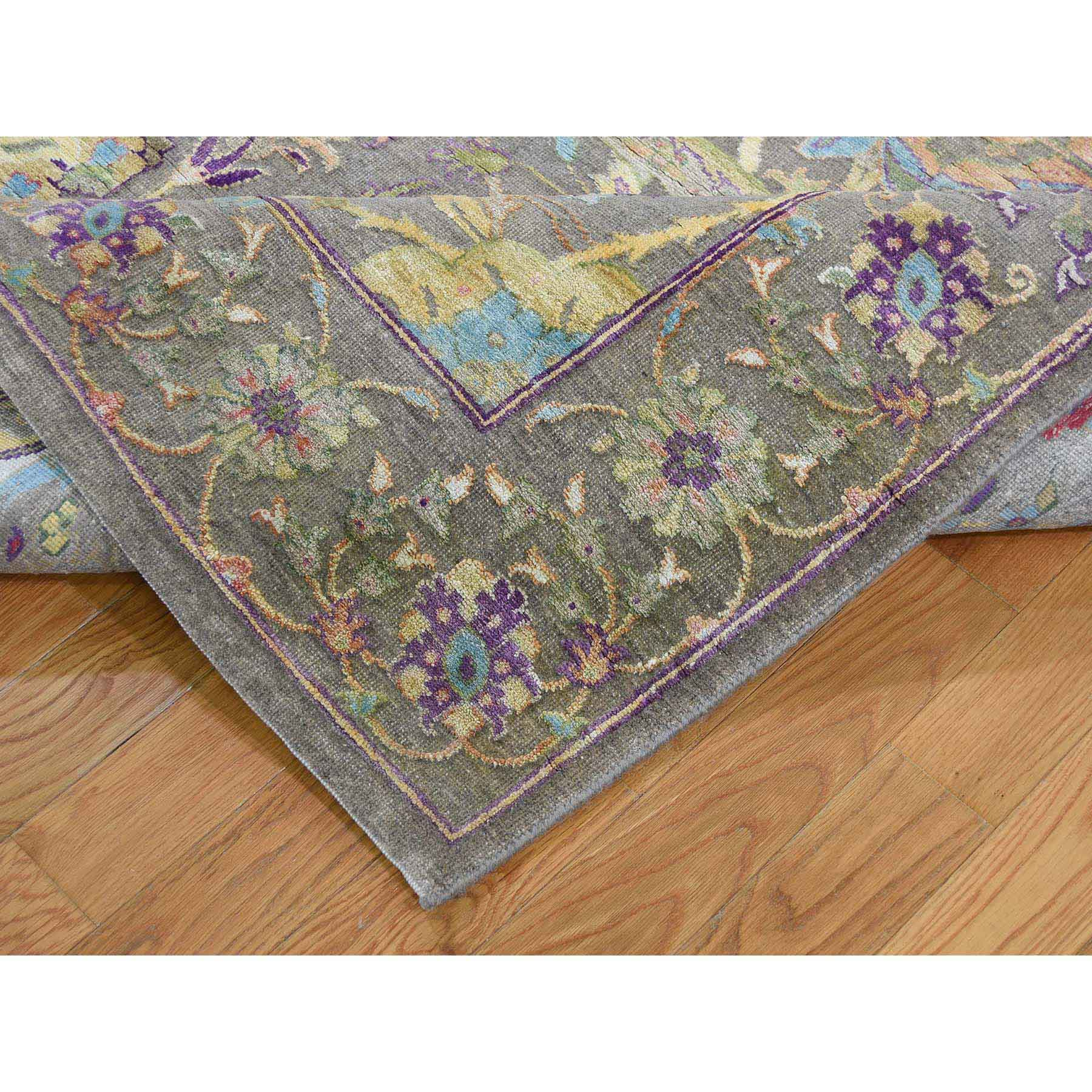 8-x10- Hand-Knotted Sickle Leaf Design Pure Silk with Oxidized Wool Oriental Rug