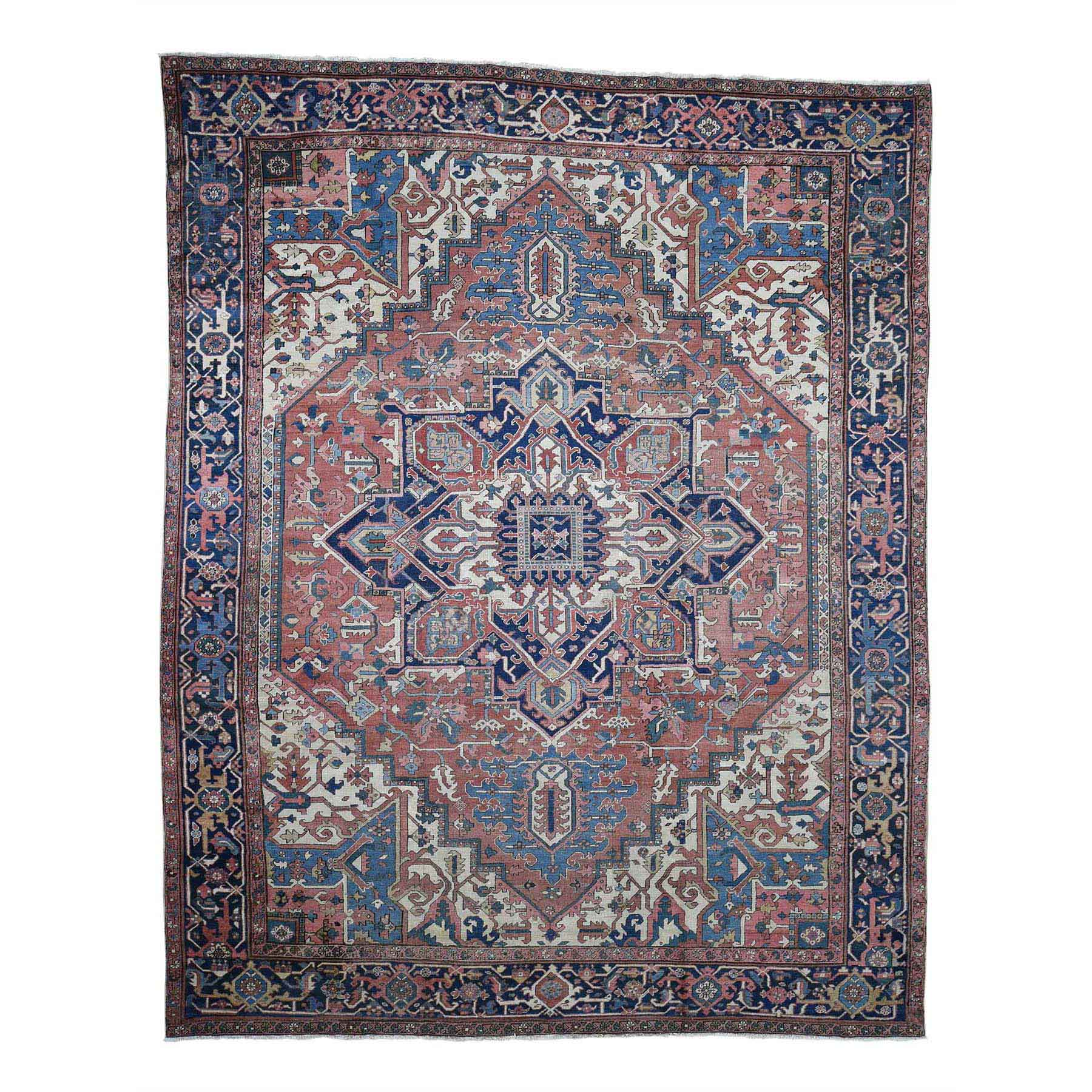 """10'1""""X12'8"""" Antique Persian Serapi Exc Cond Pure Wool Hand-Knotted Oriental Rug moad08a8"""