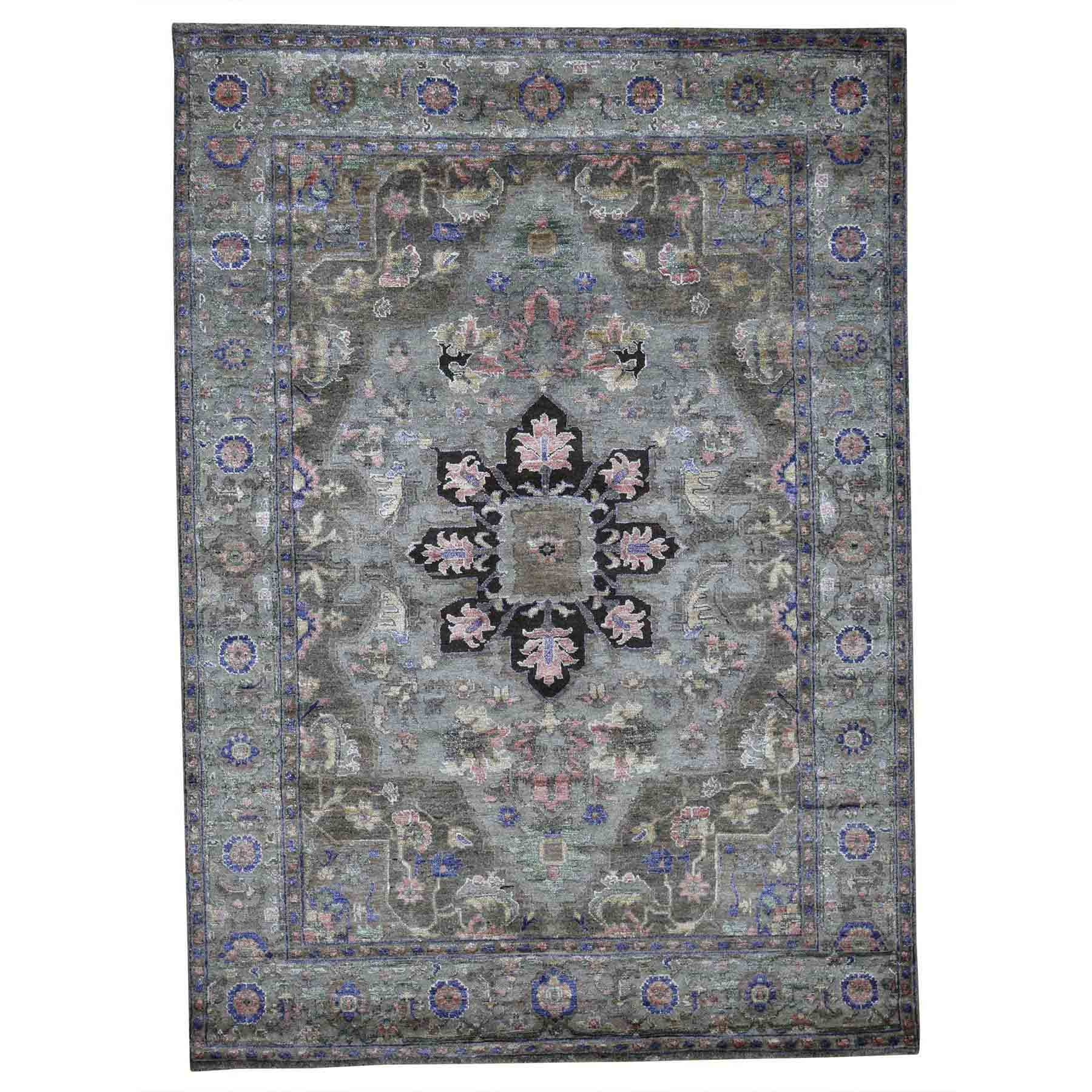5'X7' Hand-Knotted Heriz Design Wool And Silk Plush Oriental Rug moad08be