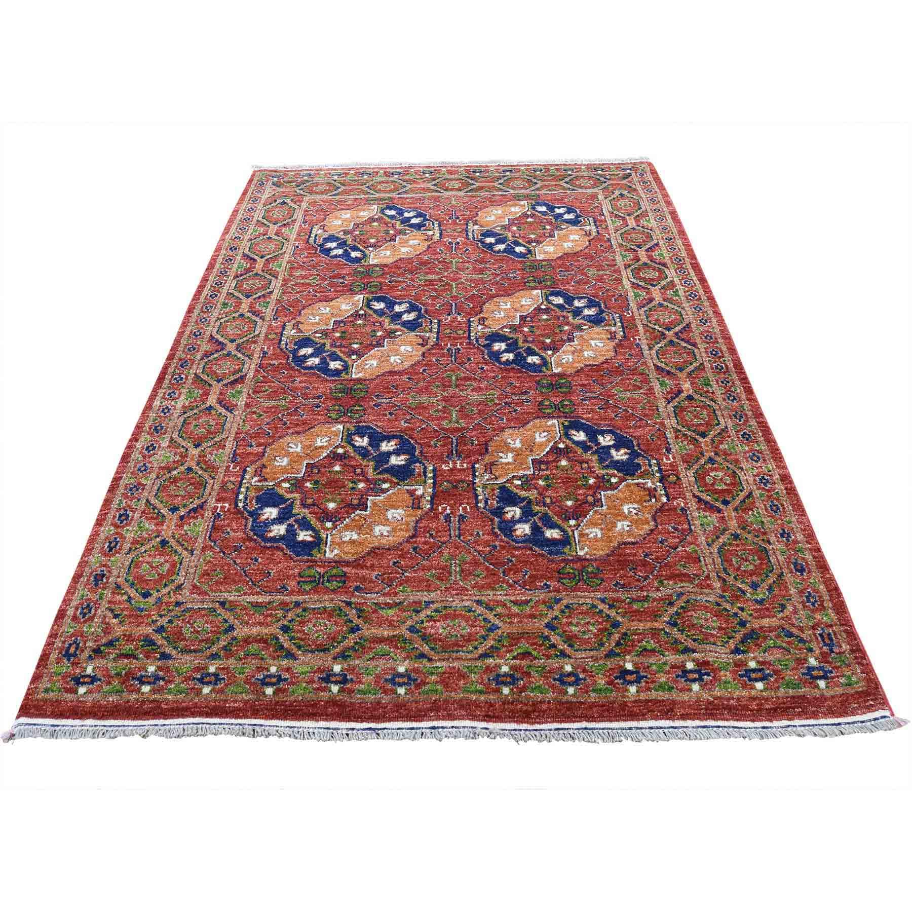 "4'1""X6'2"" Pure Wool Afghan Ersari Elephant Feet Design Hand-Knotted Oriental Rug moad08b7"